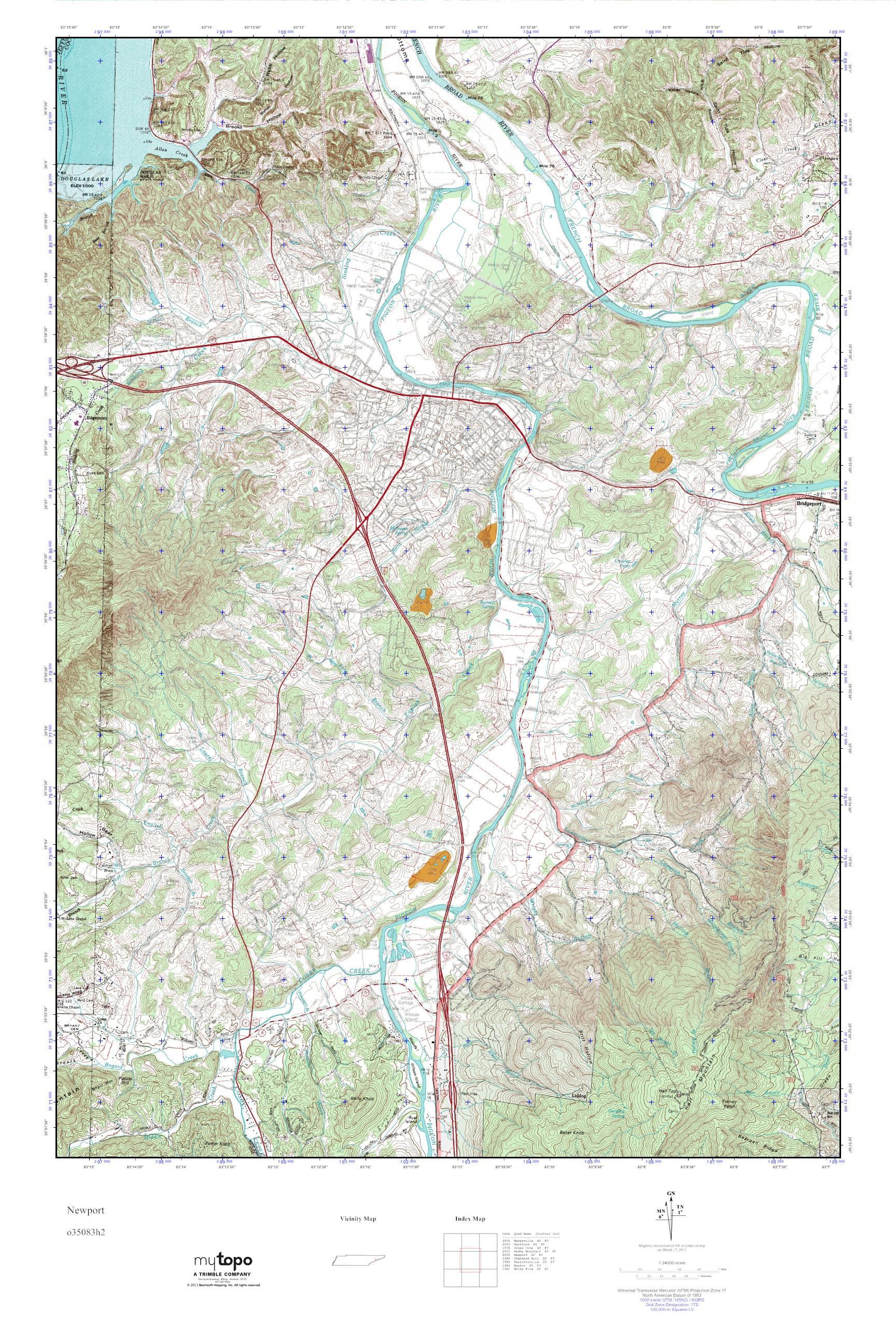 Mytopo Newport Tennessee Usgs Quad Topo Map