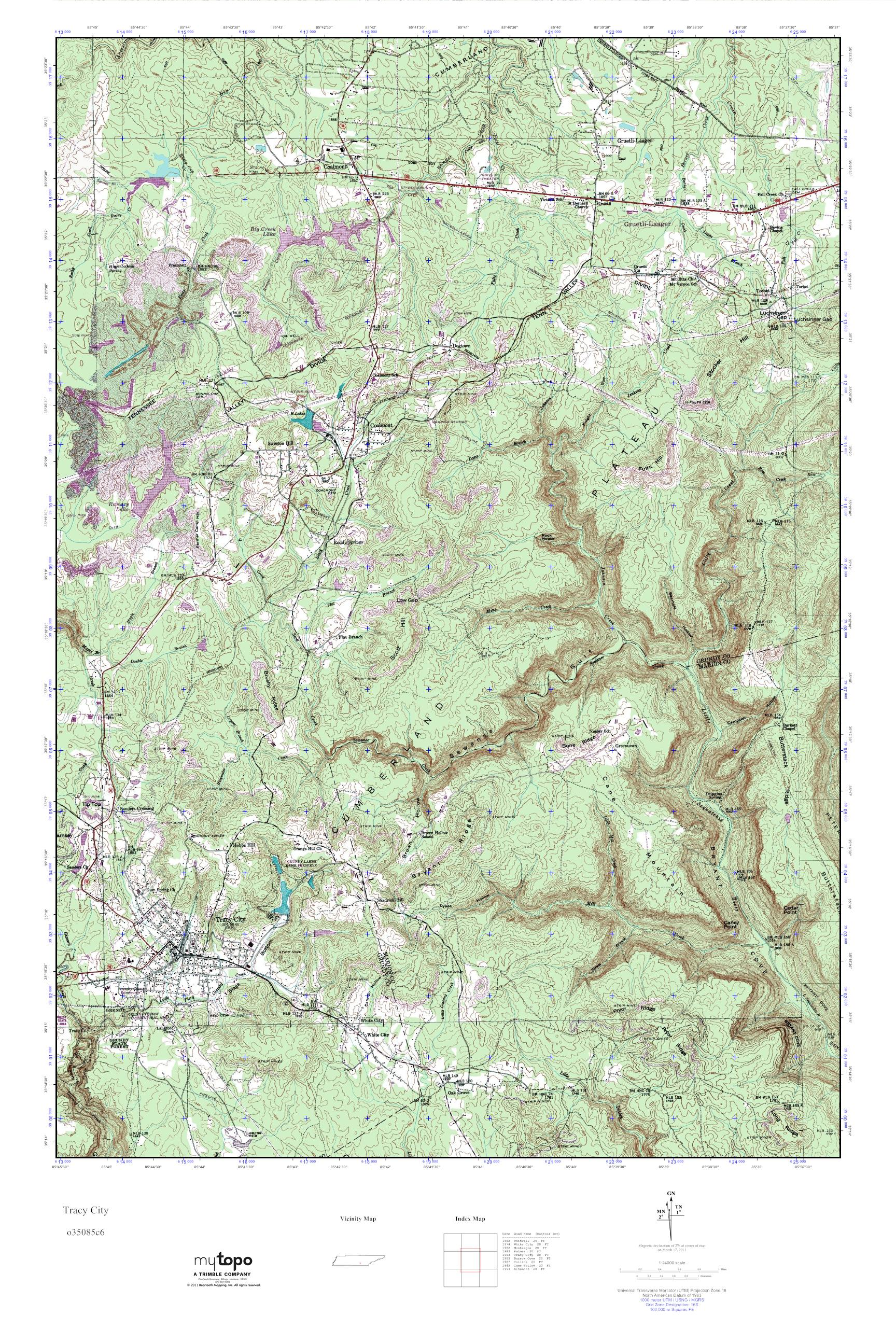 Mytopo Tracy City Tennessee Usgs Quad Topo Map