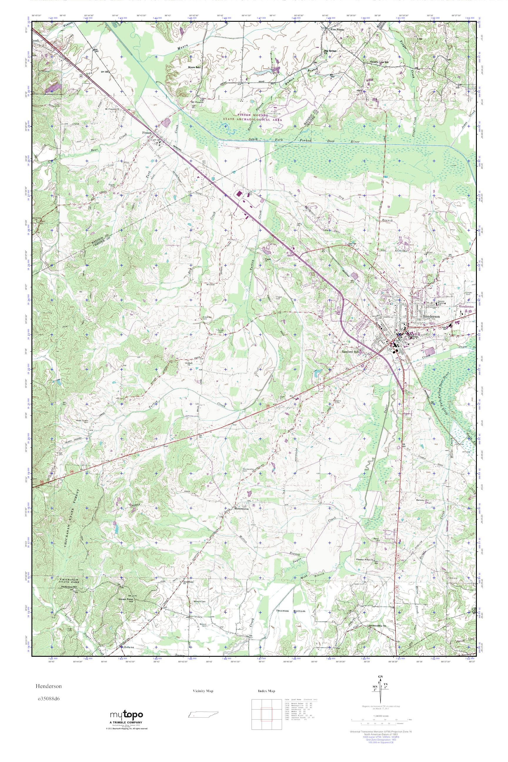 Henderson Tennessee Map.Mytopo Henderson Tennessee Usgs Quad Topo Map