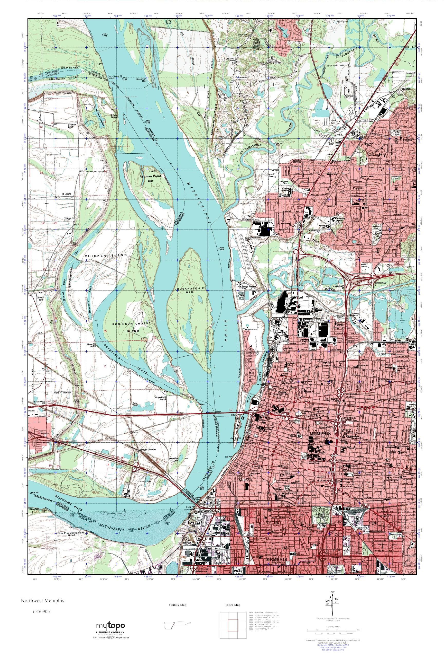 MyTopo Northwest Memphis, Tennessee USGS Quad Topo Map