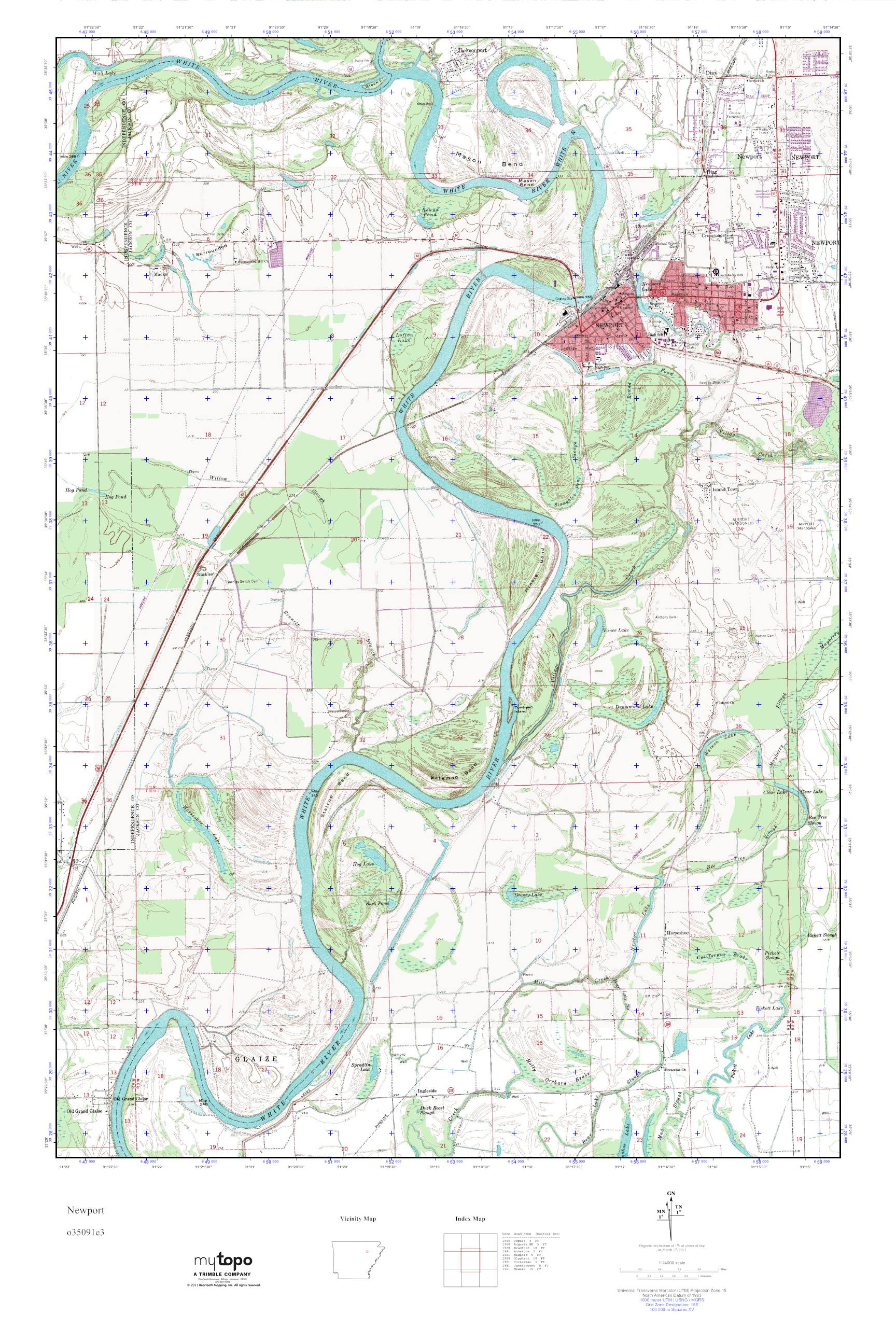 Mytopo Newport Arkansas Usgs Quad Topo Map