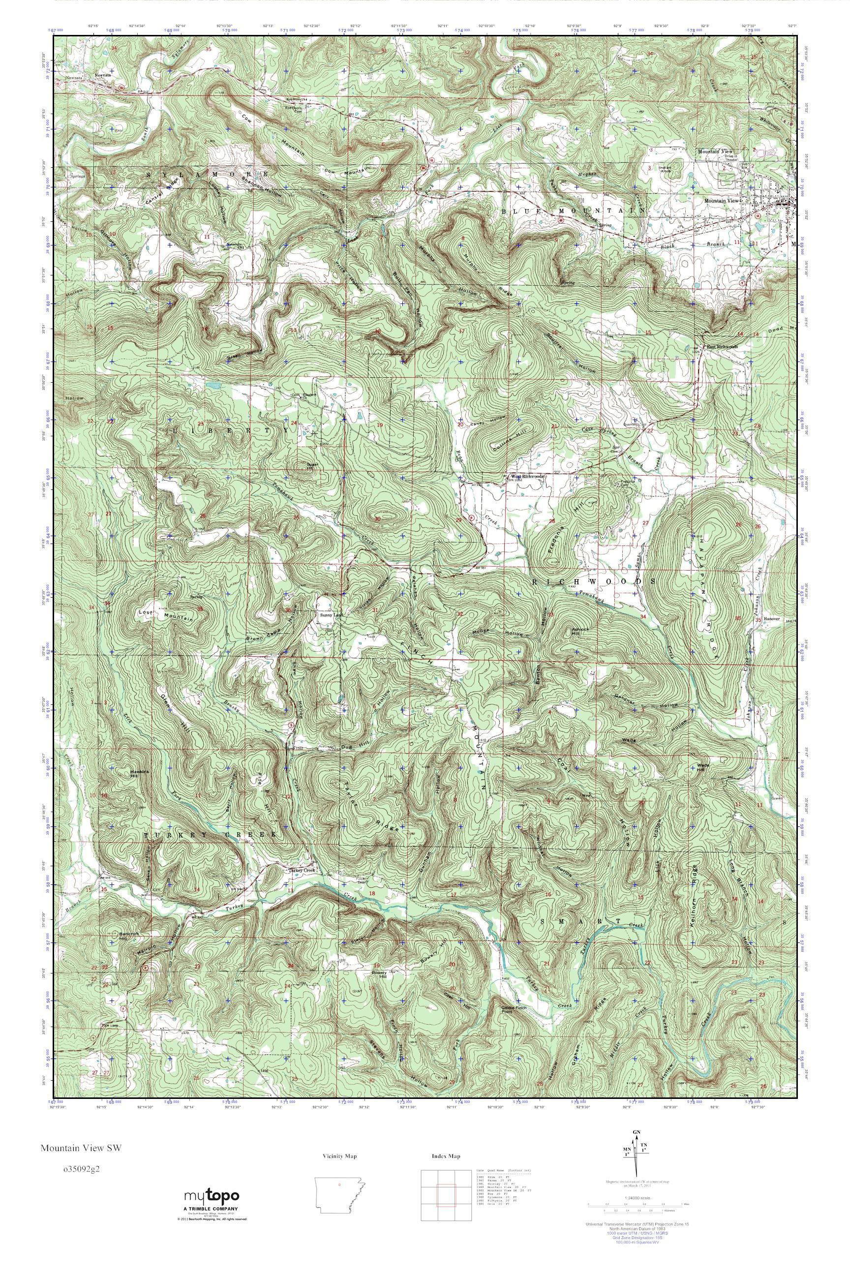 Mytopo Mountain View Sw Arkansas Usgs Quad Topo Map
