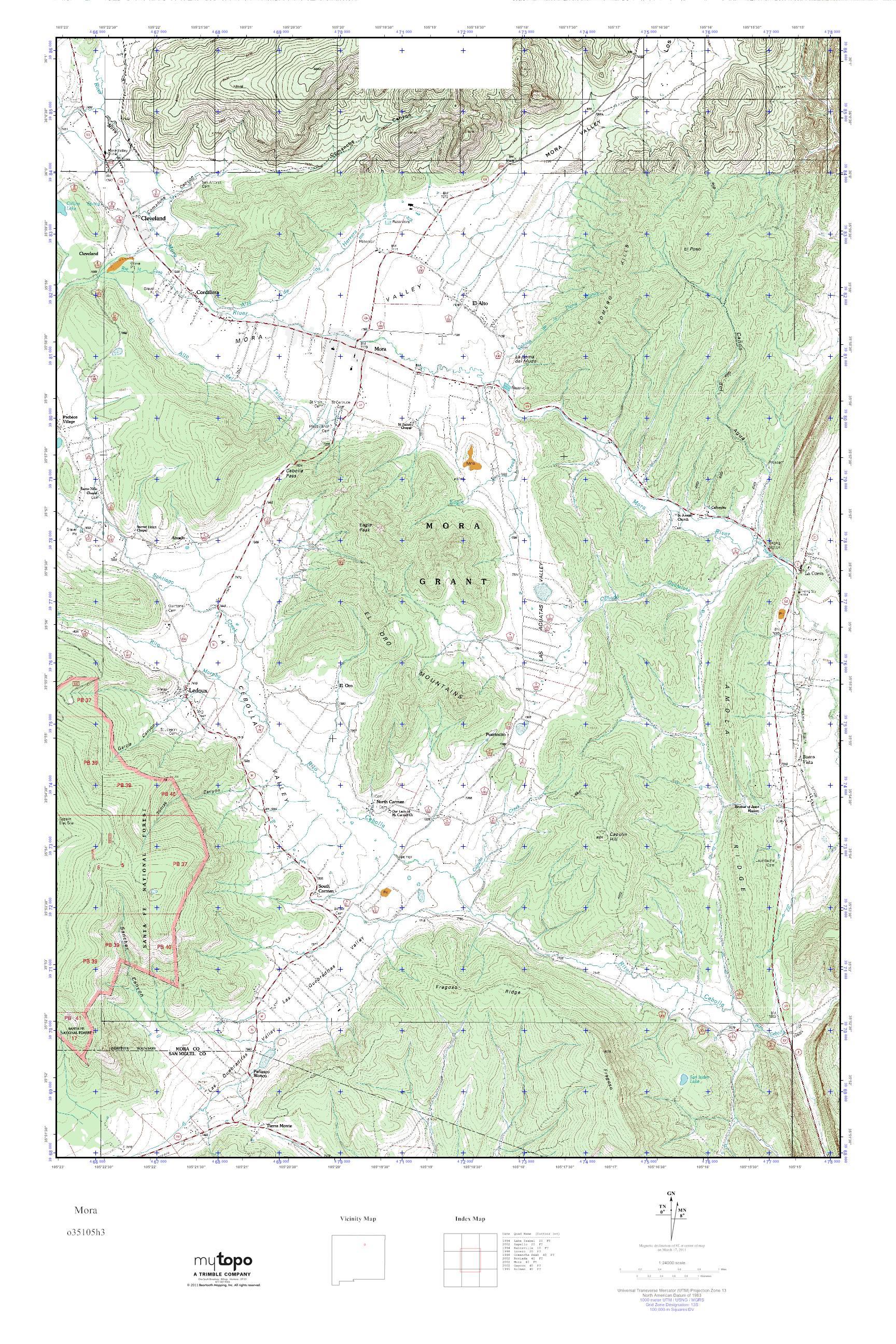 Mytopo Mora New Mexico Usgs Quad Topo Map