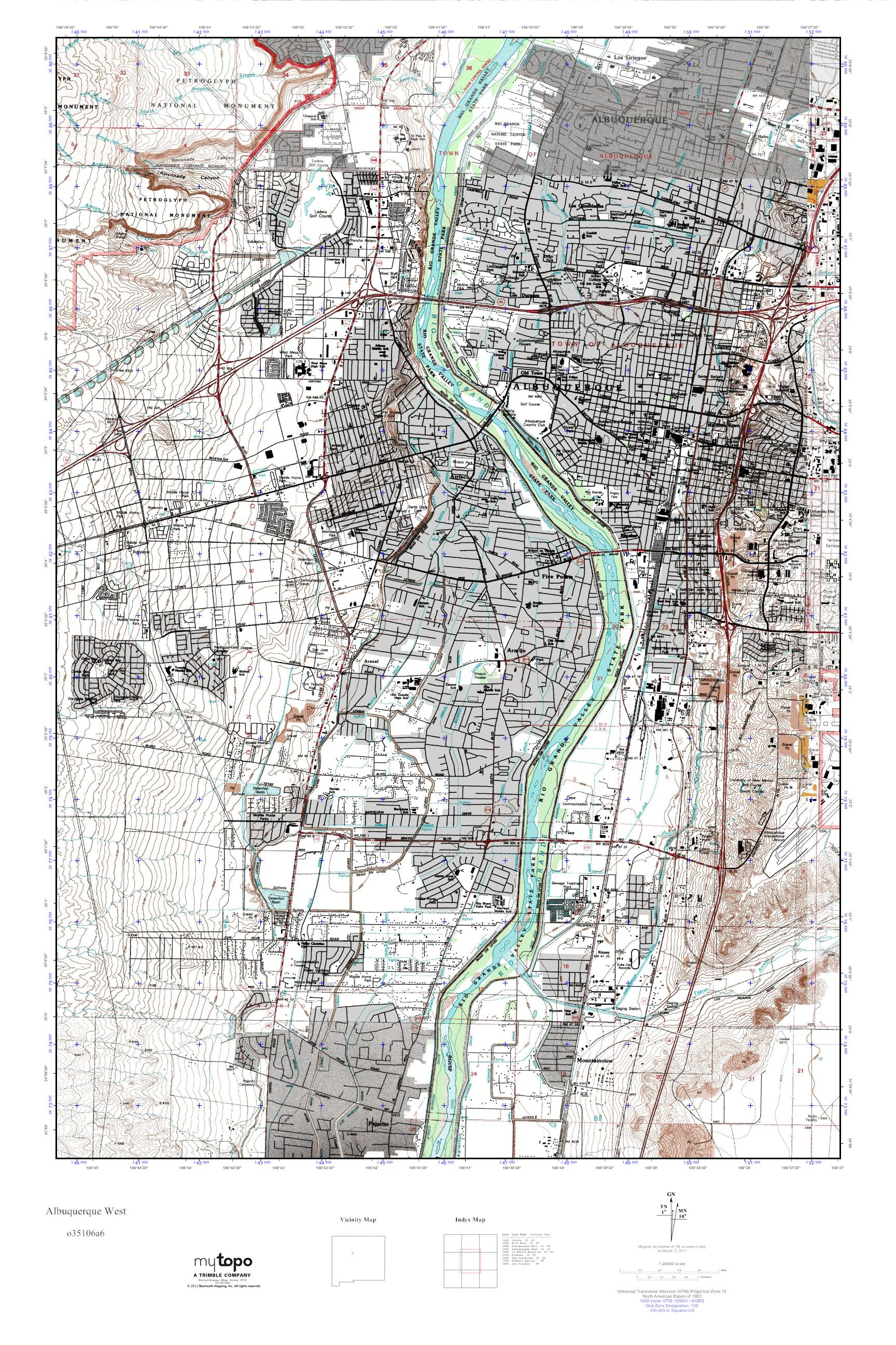 MyTopo Albuquerque West New Mexico USGS Quad Topo Map