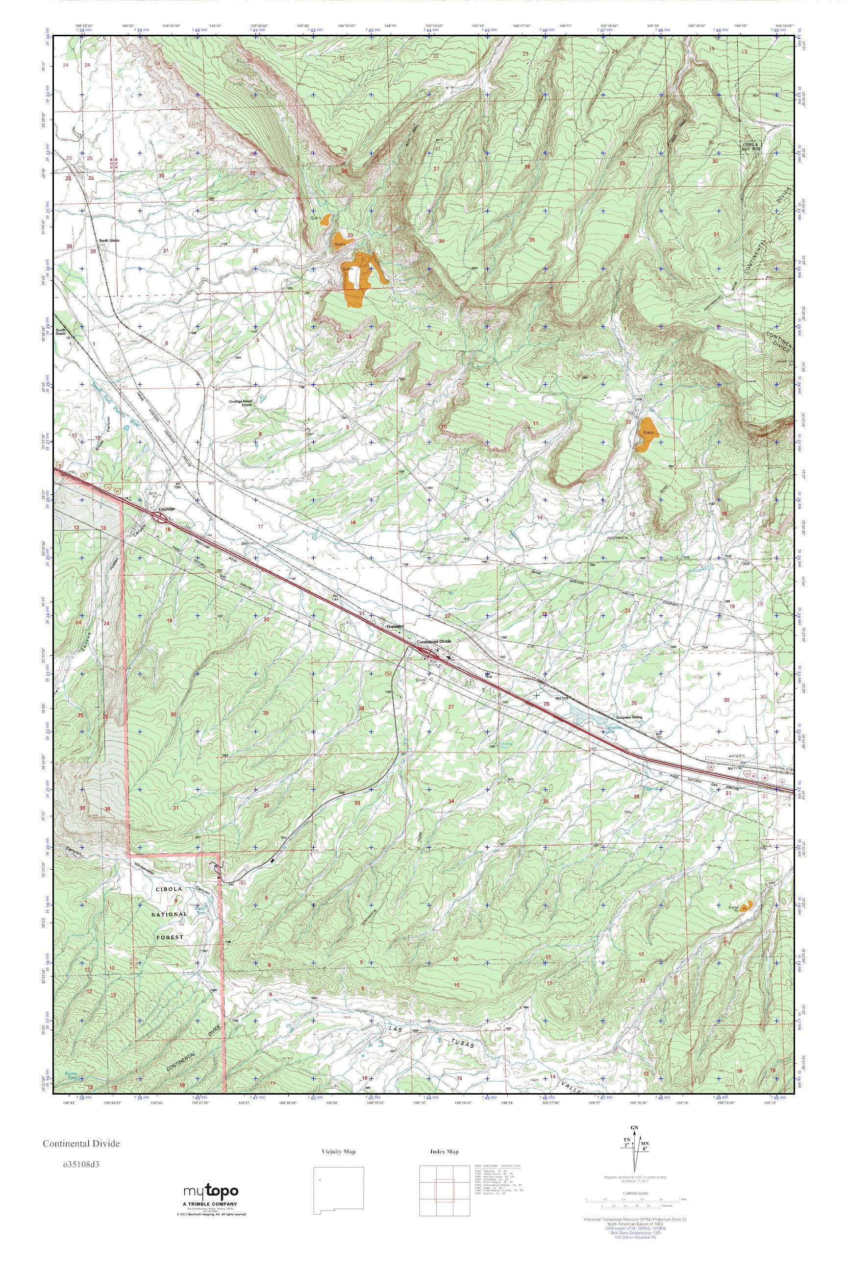 Continental Divide On Us Map.Mytopo Continental Divide New Mexico Usgs Quad Topo Map
