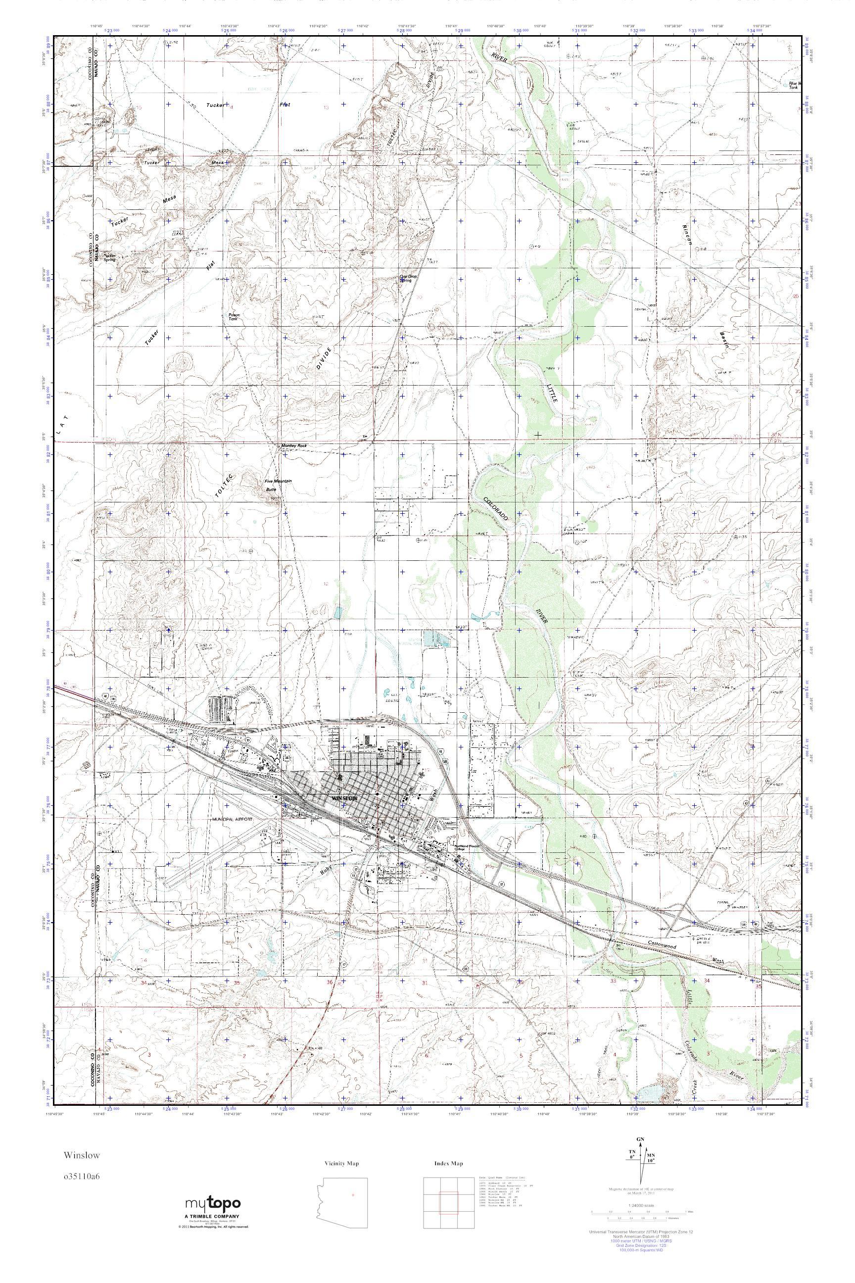 Mytopo Winslow Arizona Usgs Quad Topo Map