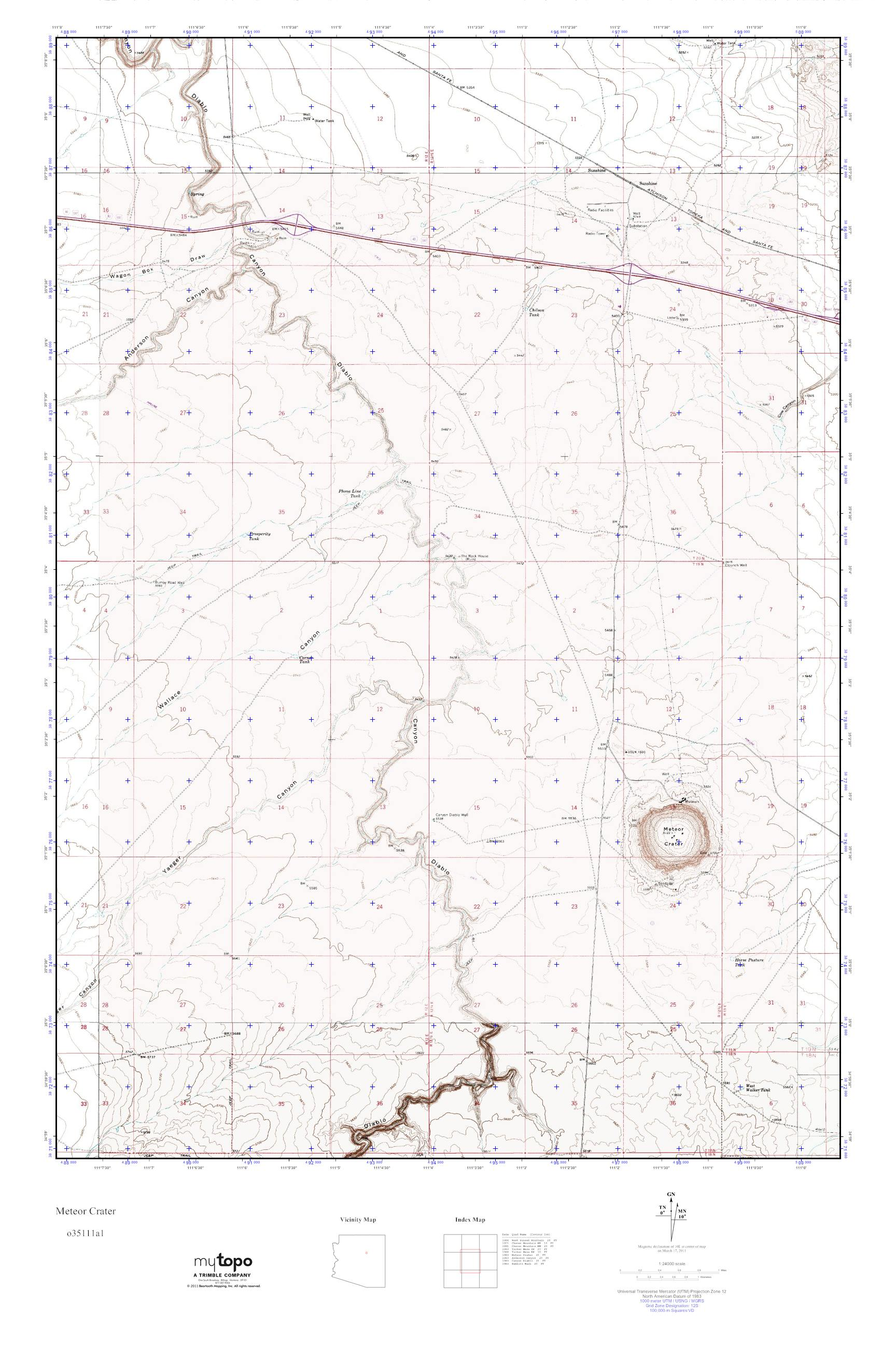 Meteor Crater Arizona Map.Mytopo Meteor Crater Arizona Usgs Quad Topo Map