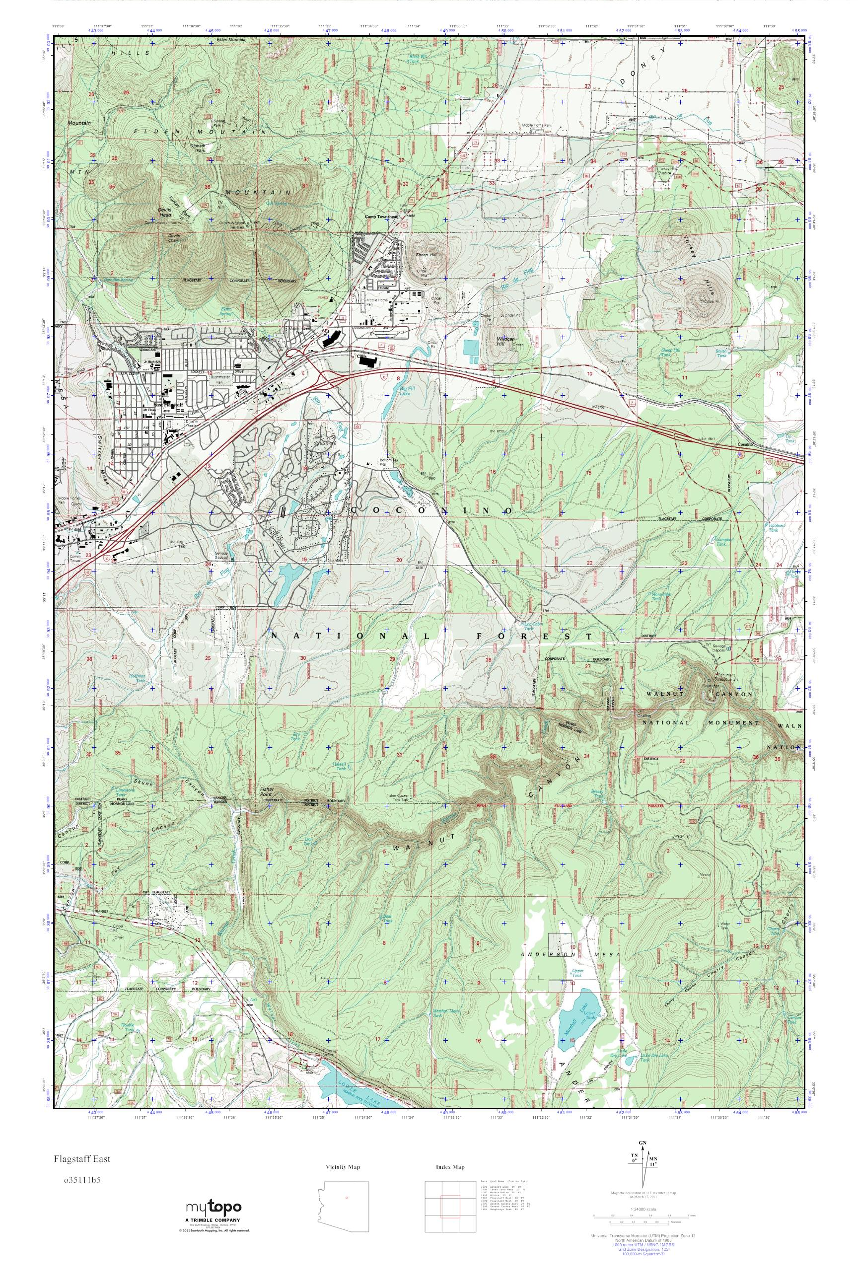 Map Of East Arizona.Mytopo Flagstaff East Arizona Usgs Quad Topo Map