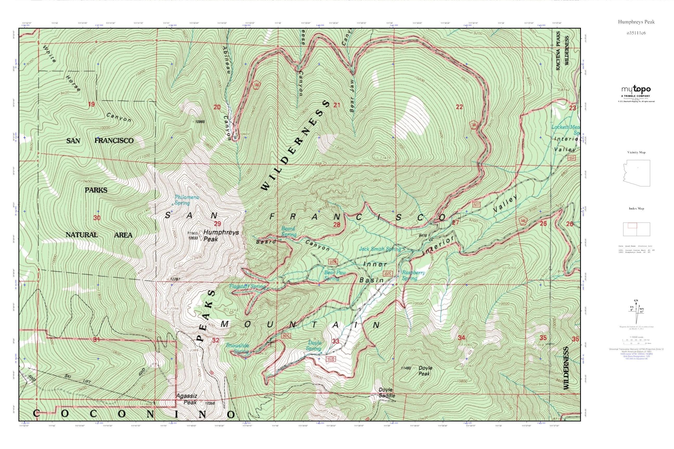 Topographic Map Arizona.Mytopo Humphreys Peak Arizona Usgs Quad Topo Map