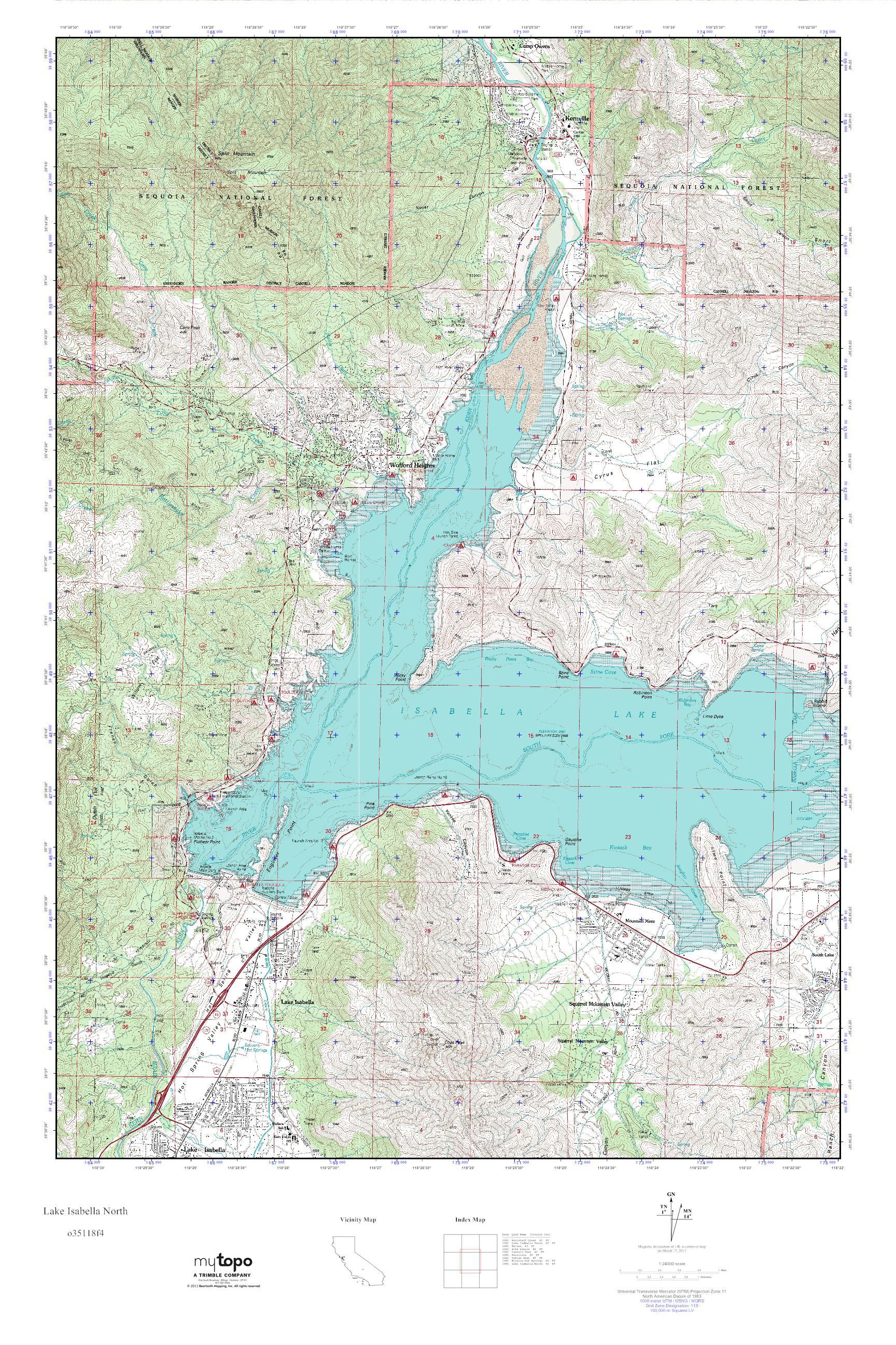 MyTopo Lake Isabella North California USGS Quad Topo Map - North california map