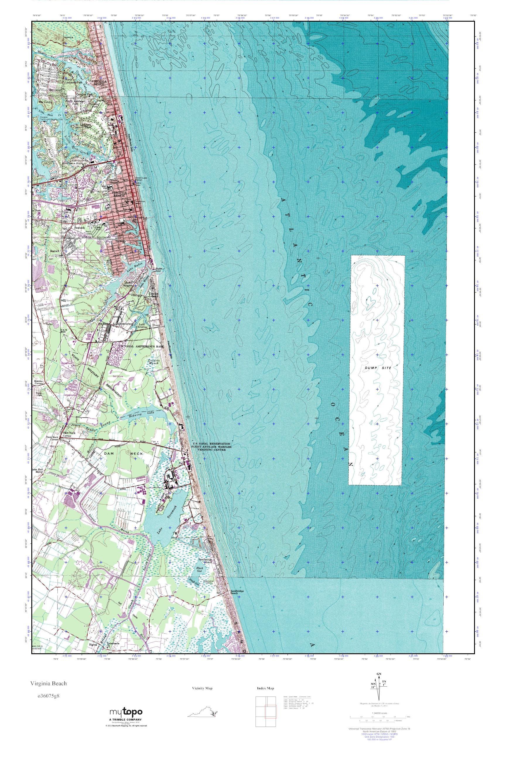 Mytopo Virginia Beach Virginia Usgs Quad Topo Map