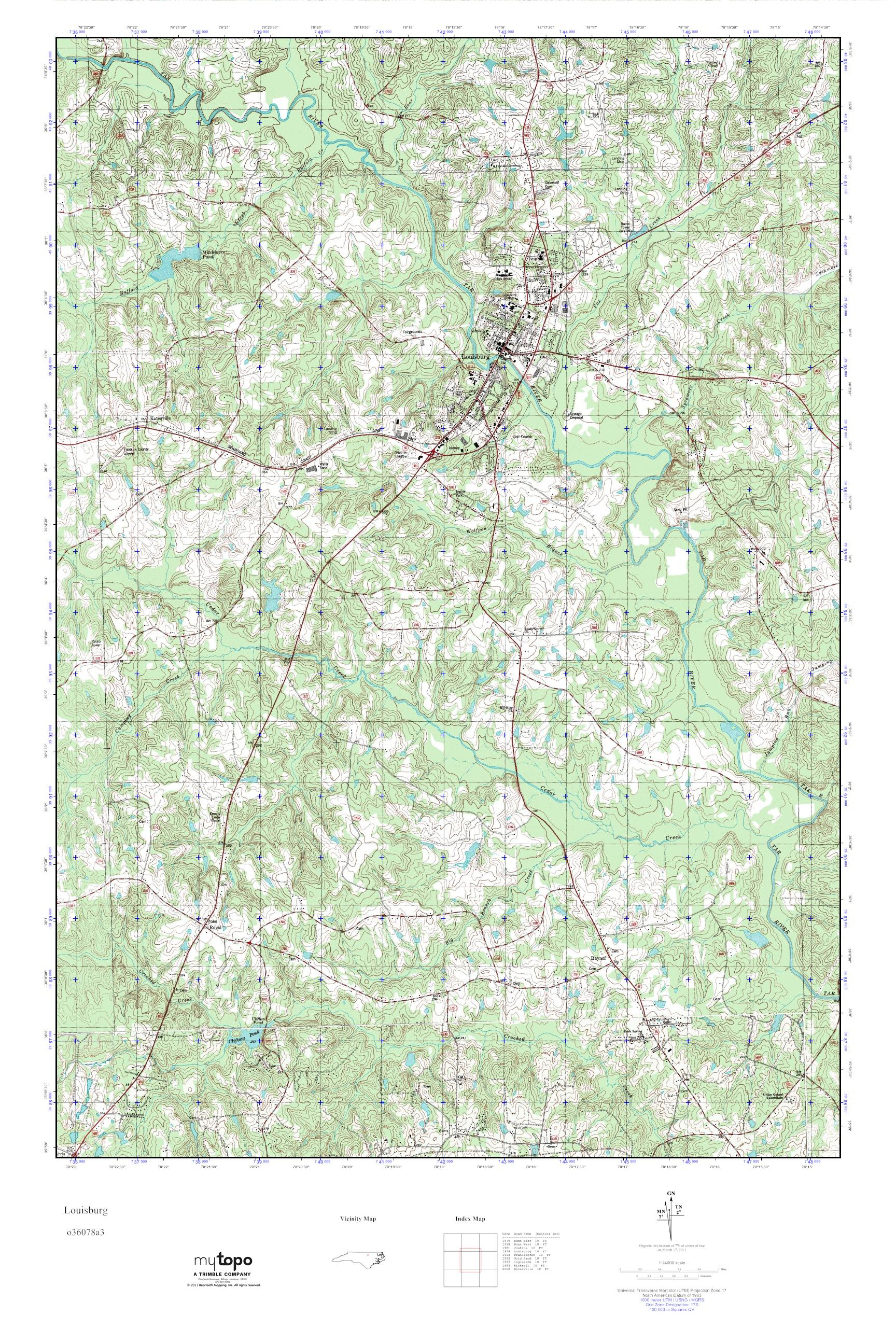 Mytopo Louisburg North Carolina Usgs Quad Topo Map