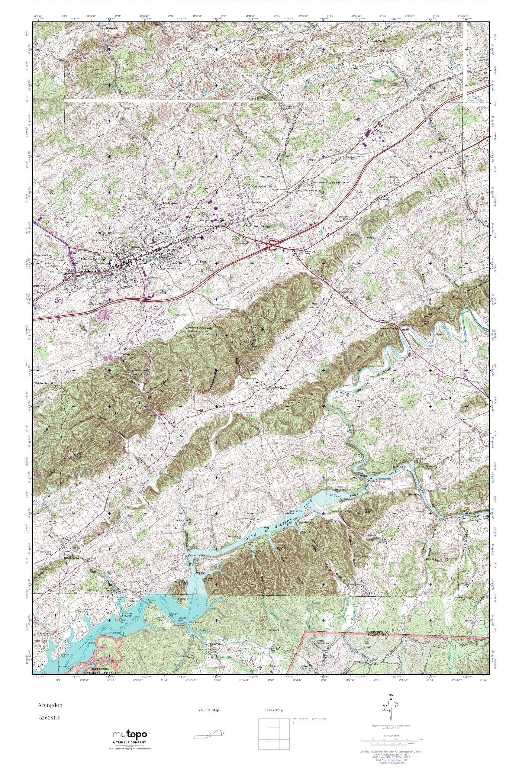 Abingdon Virginia Map.Mytopo Abingdon Virginia Usgs Quad Topo Map