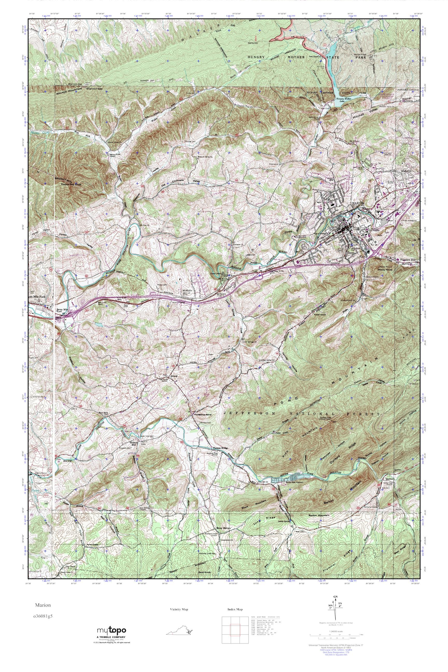 Marion Virginia Map.Mytopo Marion Virginia Usgs Quad Topo Map