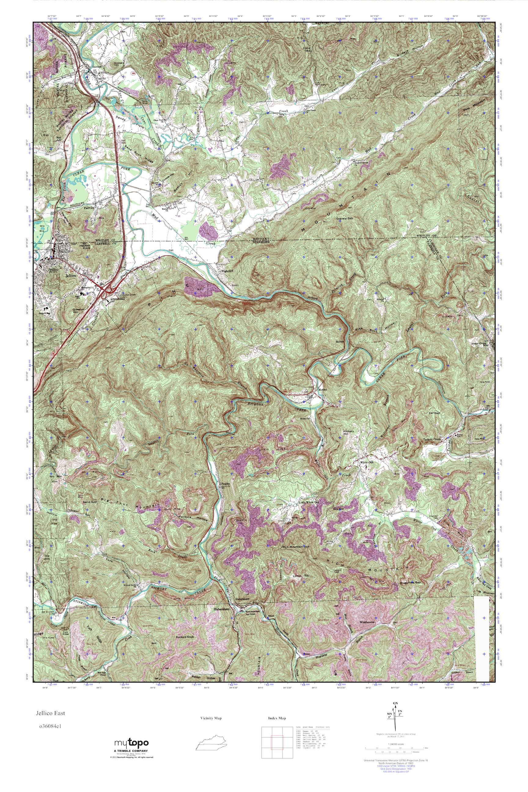 MyTopo Jellico East, Tennessee USGS Quad Topo Map