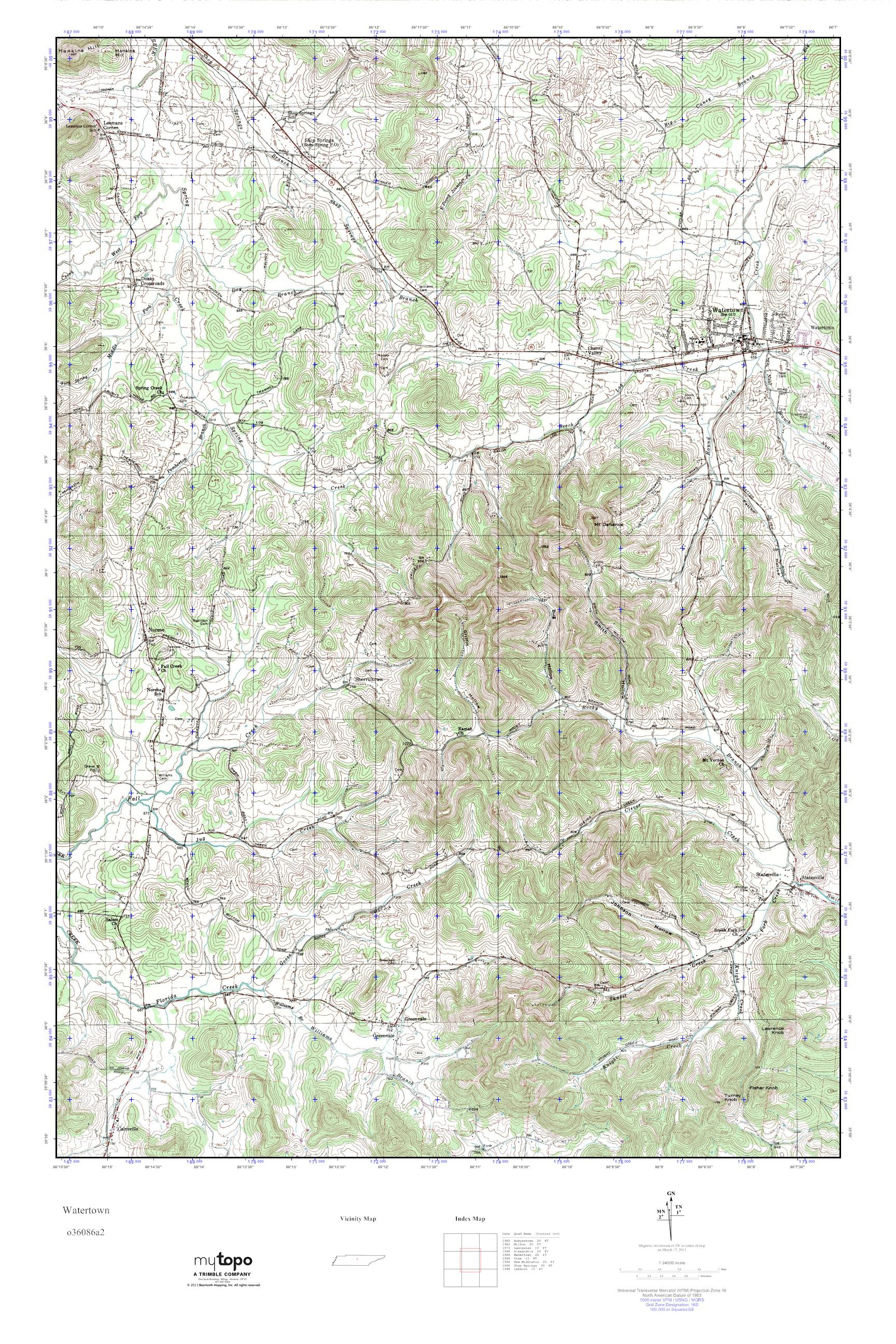 MyTopo Watertown, Tennessee USGS Quad Topo Map
