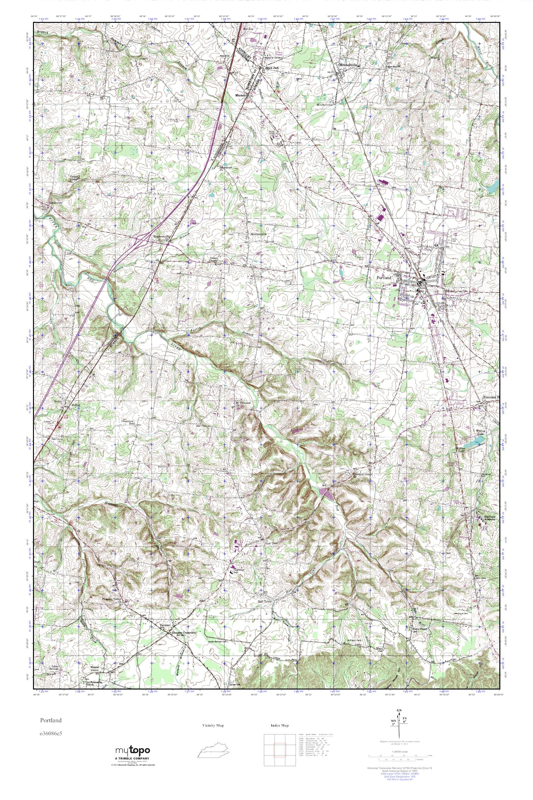 Portland Tennessee Map.Mytopo Portland Tennessee Usgs Quad Topo Map