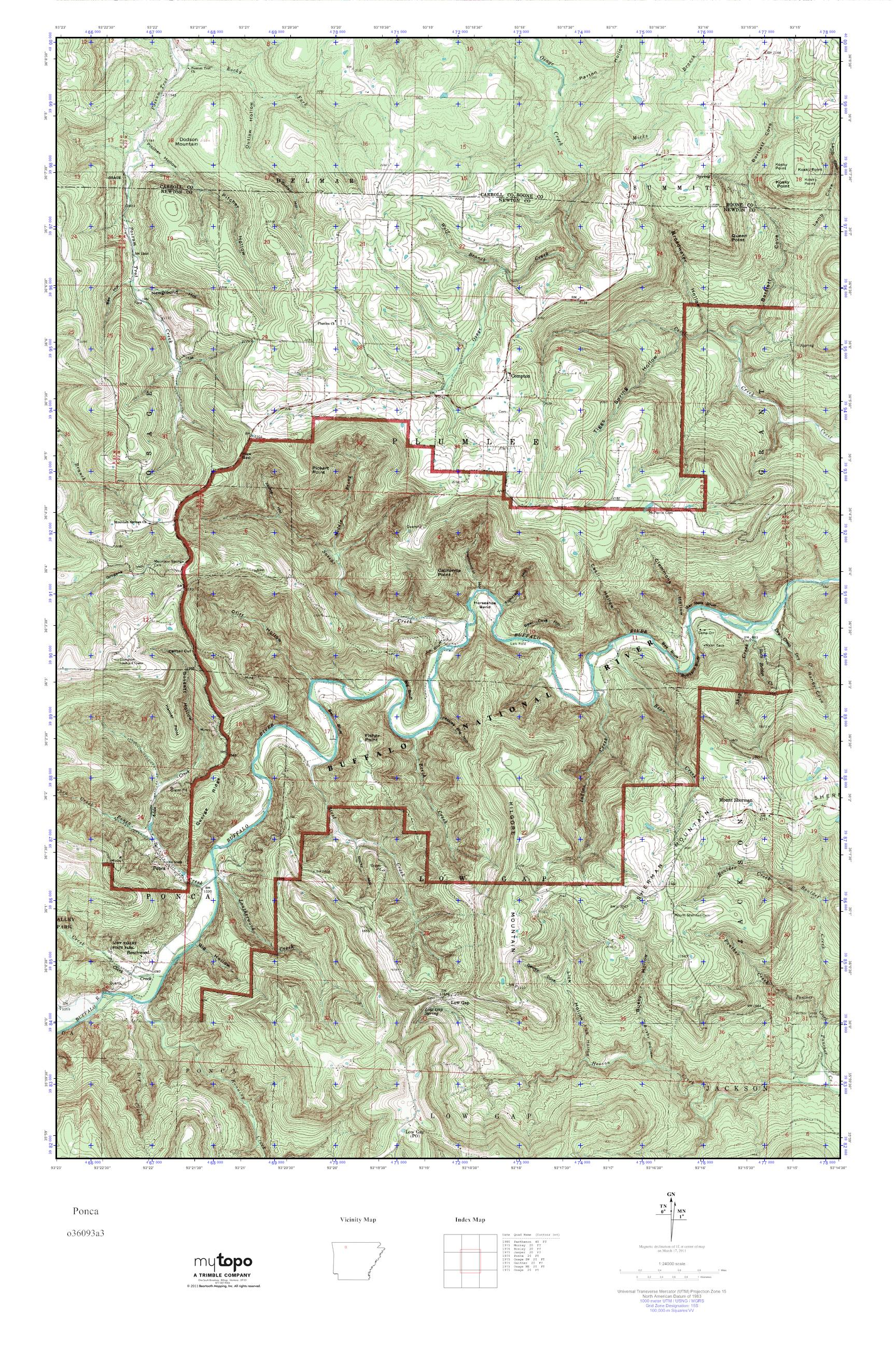 Ponca Arkansas Map.Mytopo Ponca Arkansas Usgs Quad Topo Map
