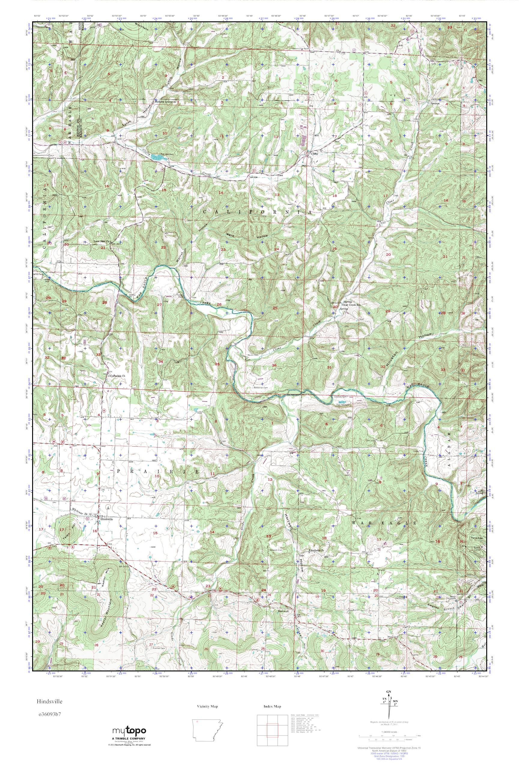 MyTopo Hindsville, Arkansas USGS Quad Topo Map