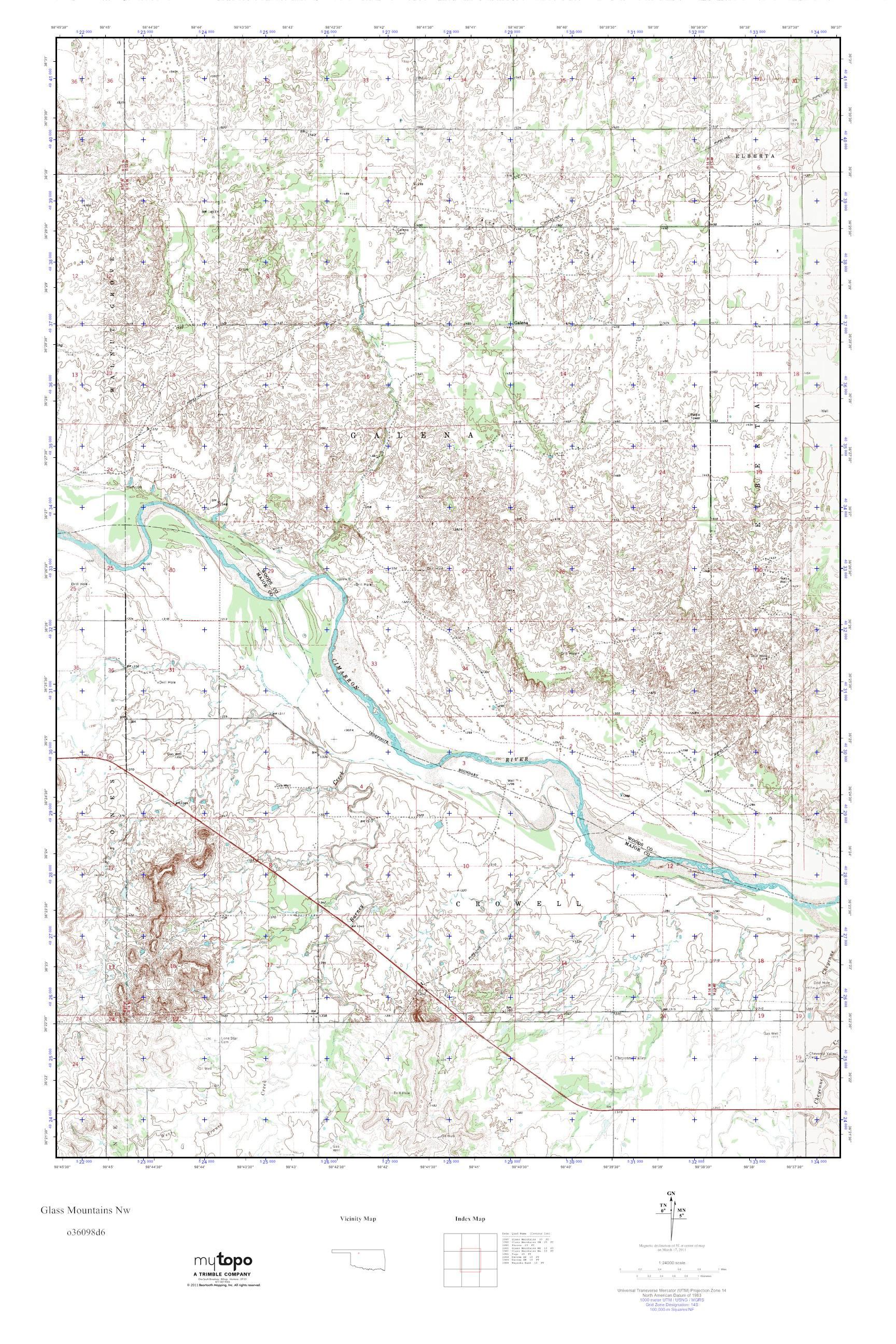 Mountains In Oklahoma Map.Mytopo Glass Mountains Nw Oklahoma Usgs Quad Topo Map
