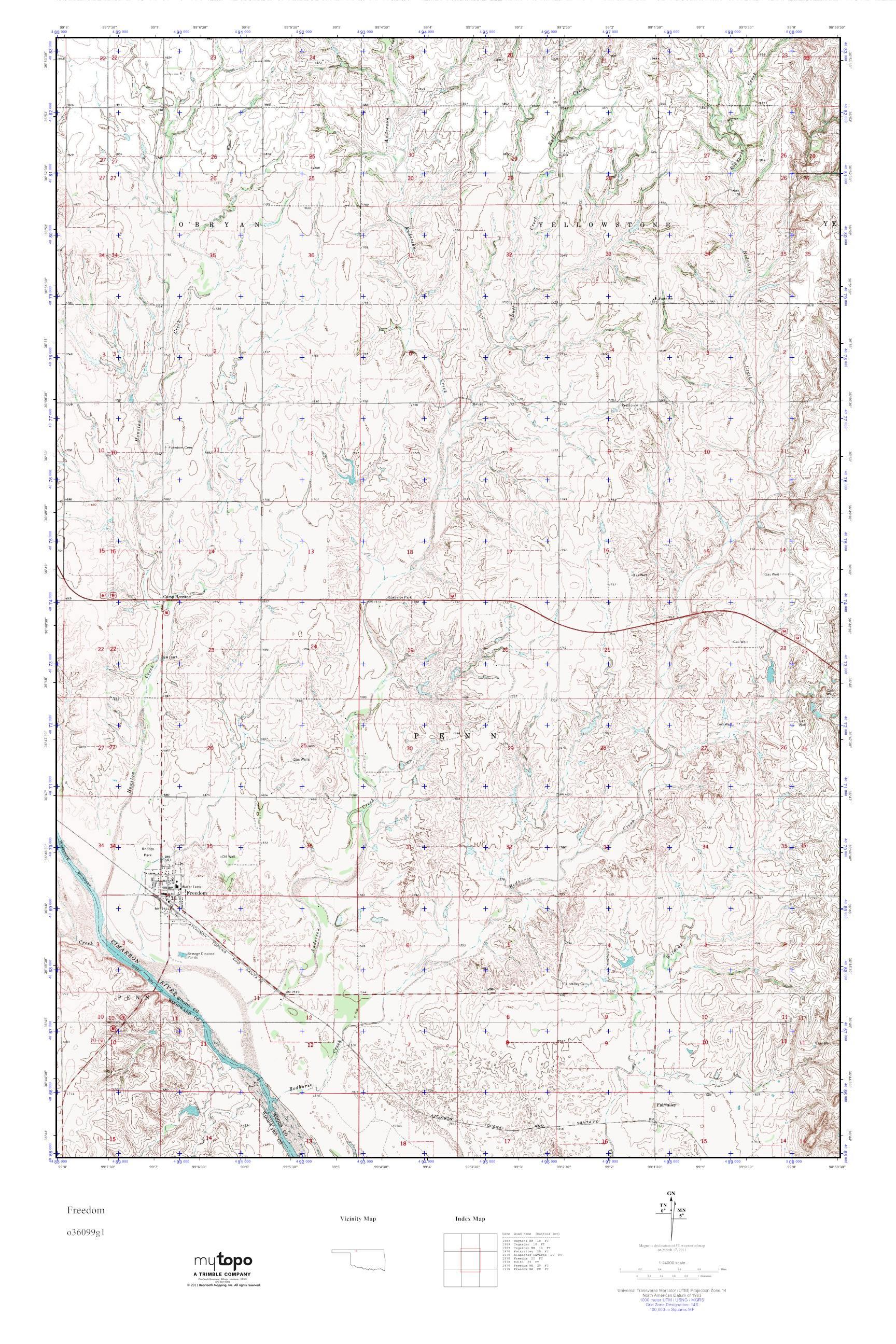 Freedom Oklahoma Map.Mytopo Freedom Oklahoma Usgs Quad Topo Map