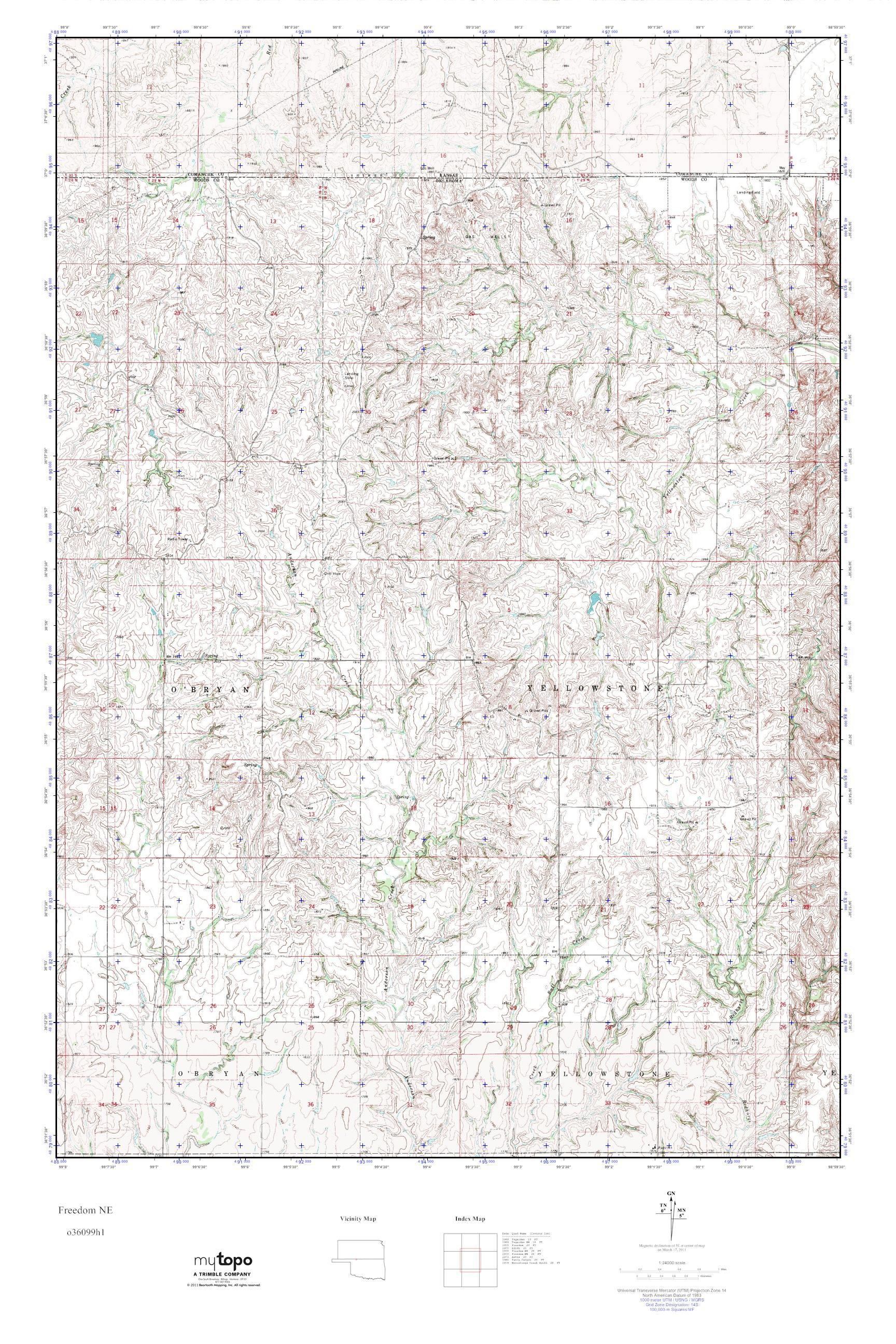 Freedom Oklahoma Map.Mytopo Freedom Ne Oklahoma Usgs Quad Topo Map
