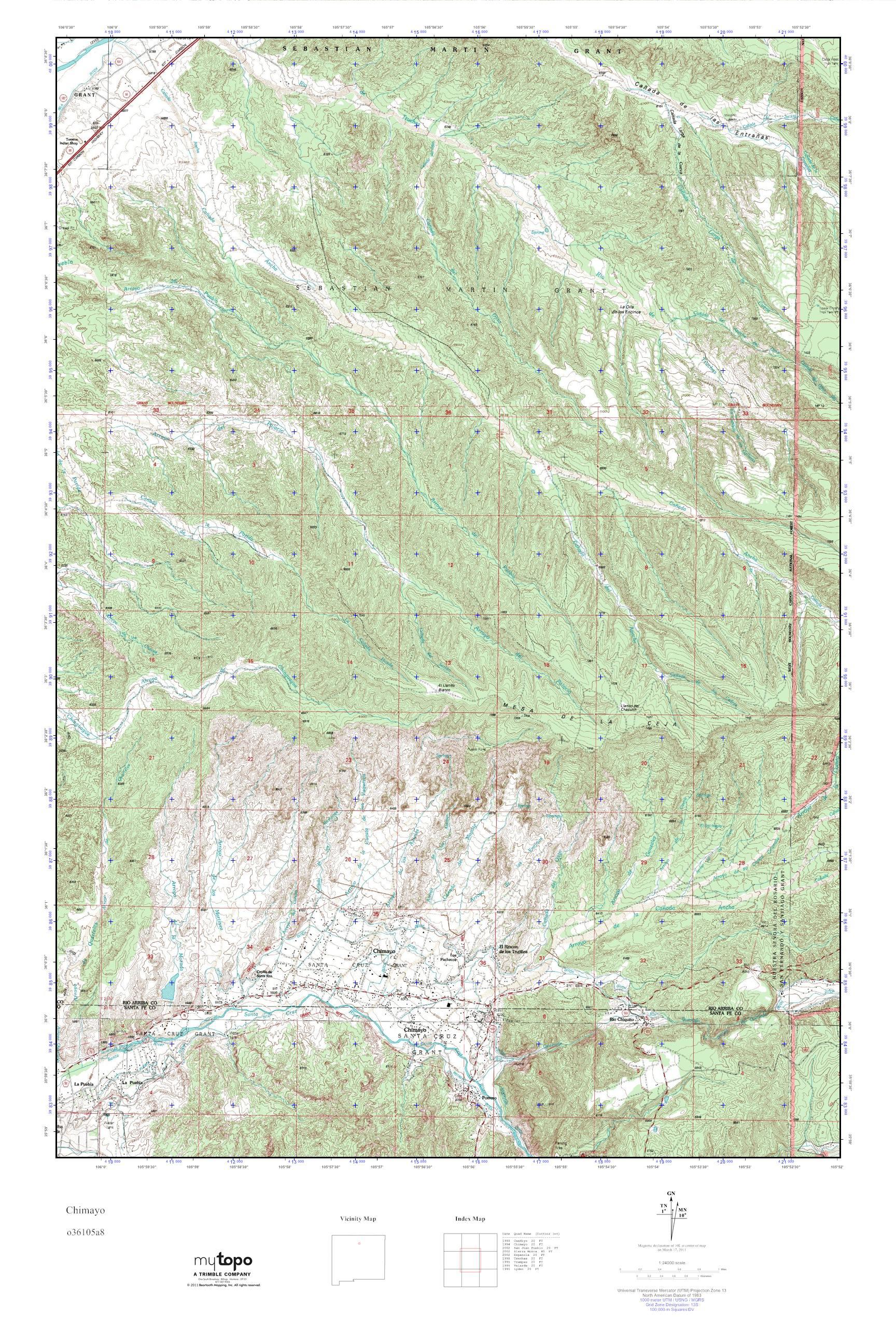 Mytopo Chimayo New Mexico Usgs Quad Topo Map