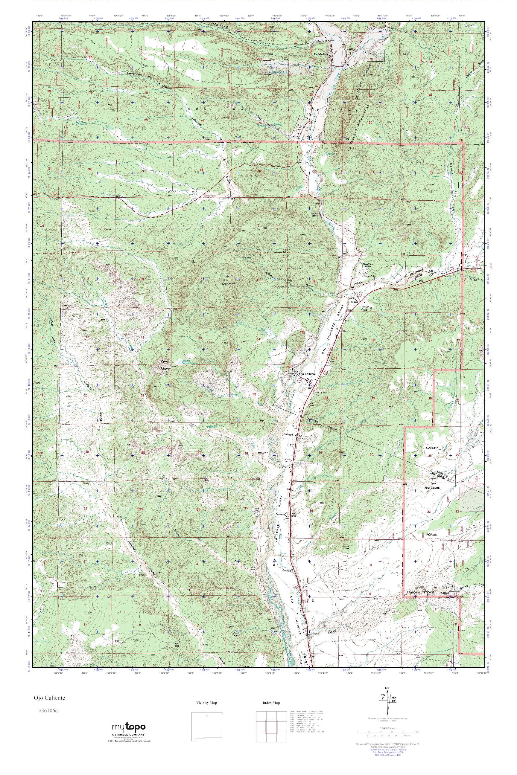 Ojo Caliente New Mexico Map.Mytopo Ojo Caliente New Mexico Usgs Quad Topo Map