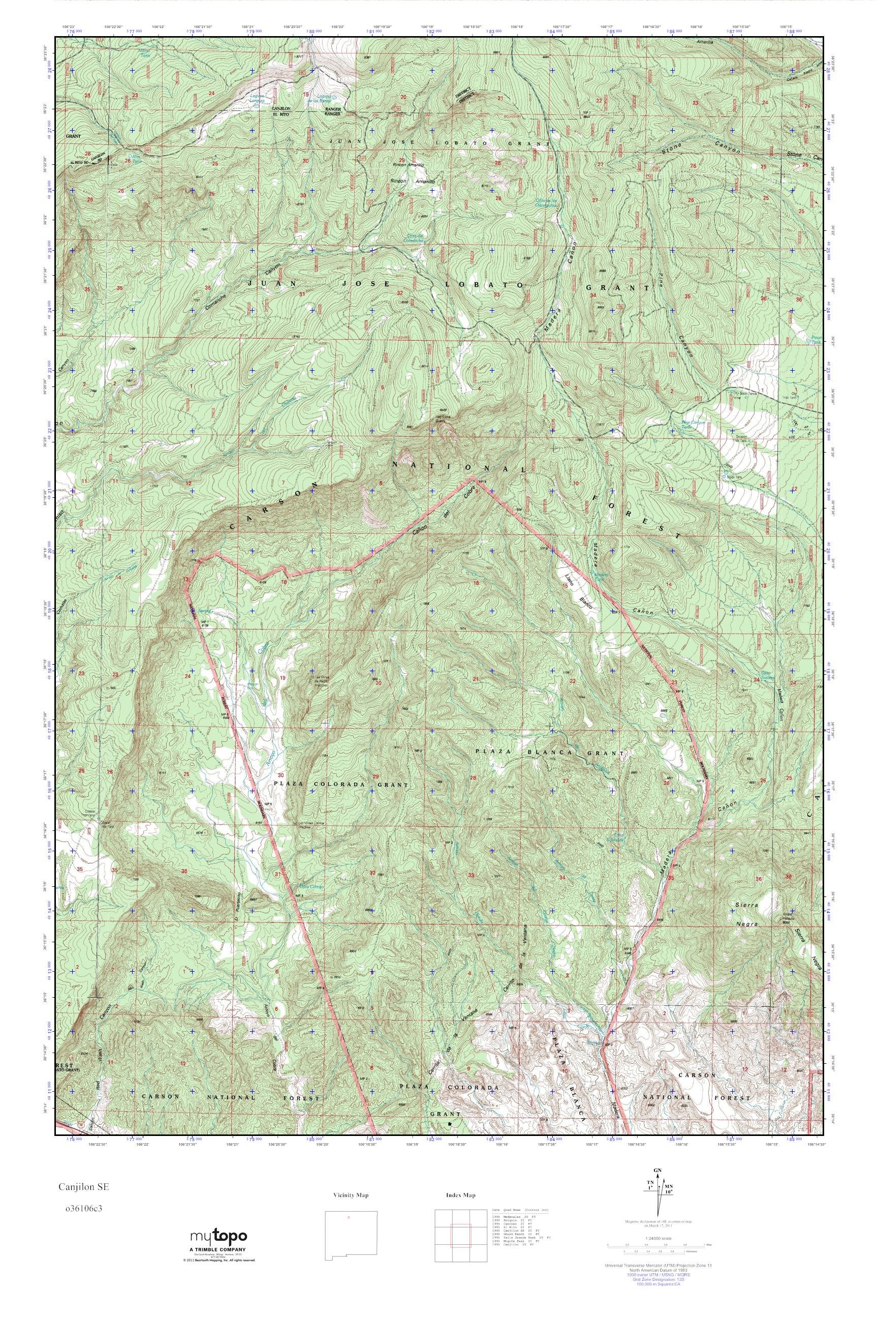 MyTopo Canjilon SE New Mexico USGS Quad Topo Map