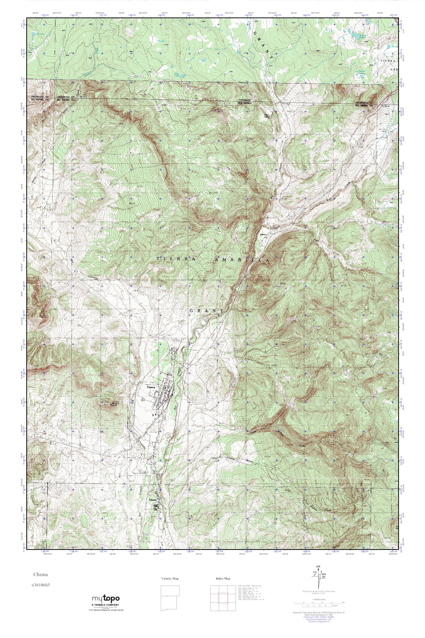 MyTopo Chama New Mexico USGS Quad Topo Map