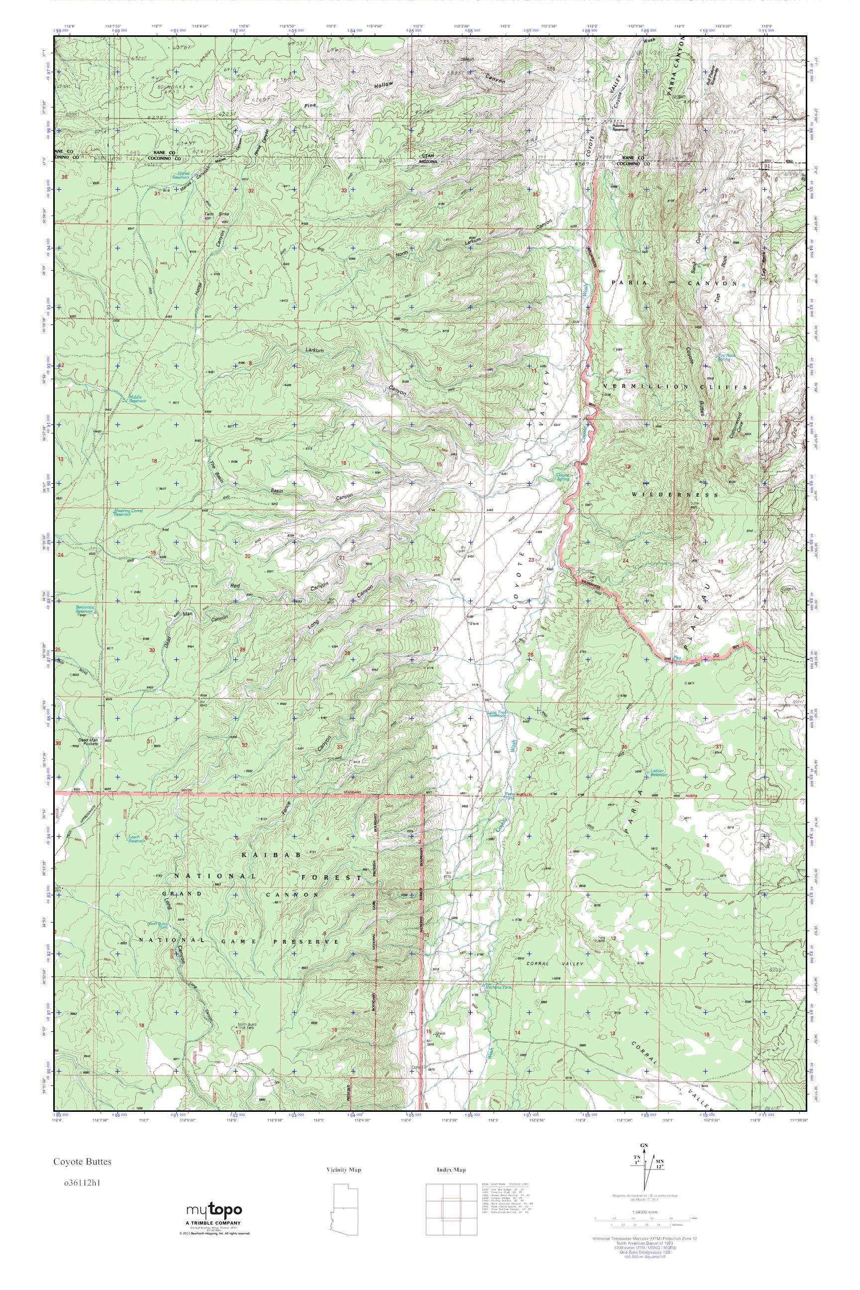 MyTopo Coyote Buttes, Arizona USGS Quad Topo Map