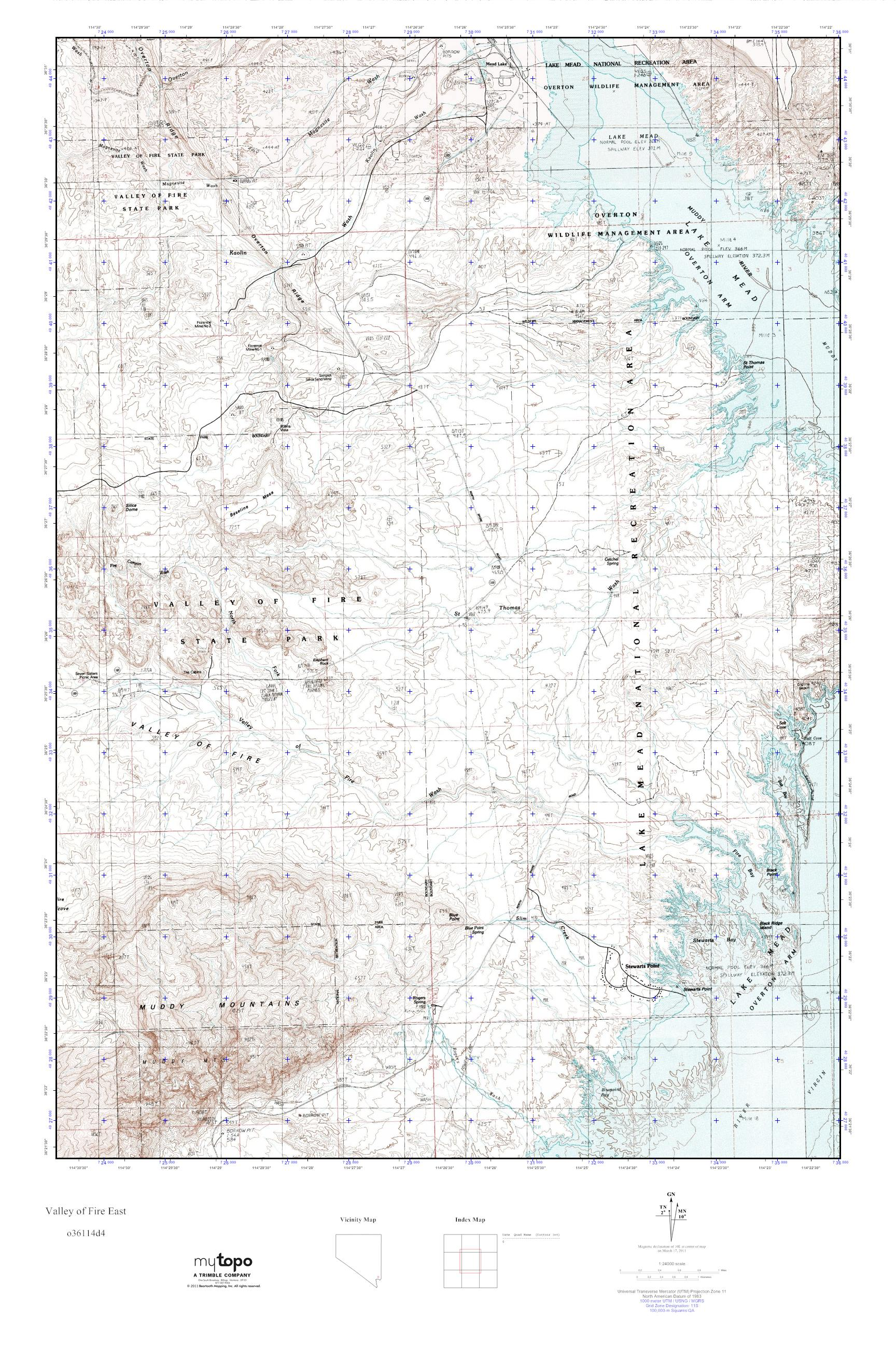 Mytopo Valley Of Fire East Nevada Usgs Quad Topo Map