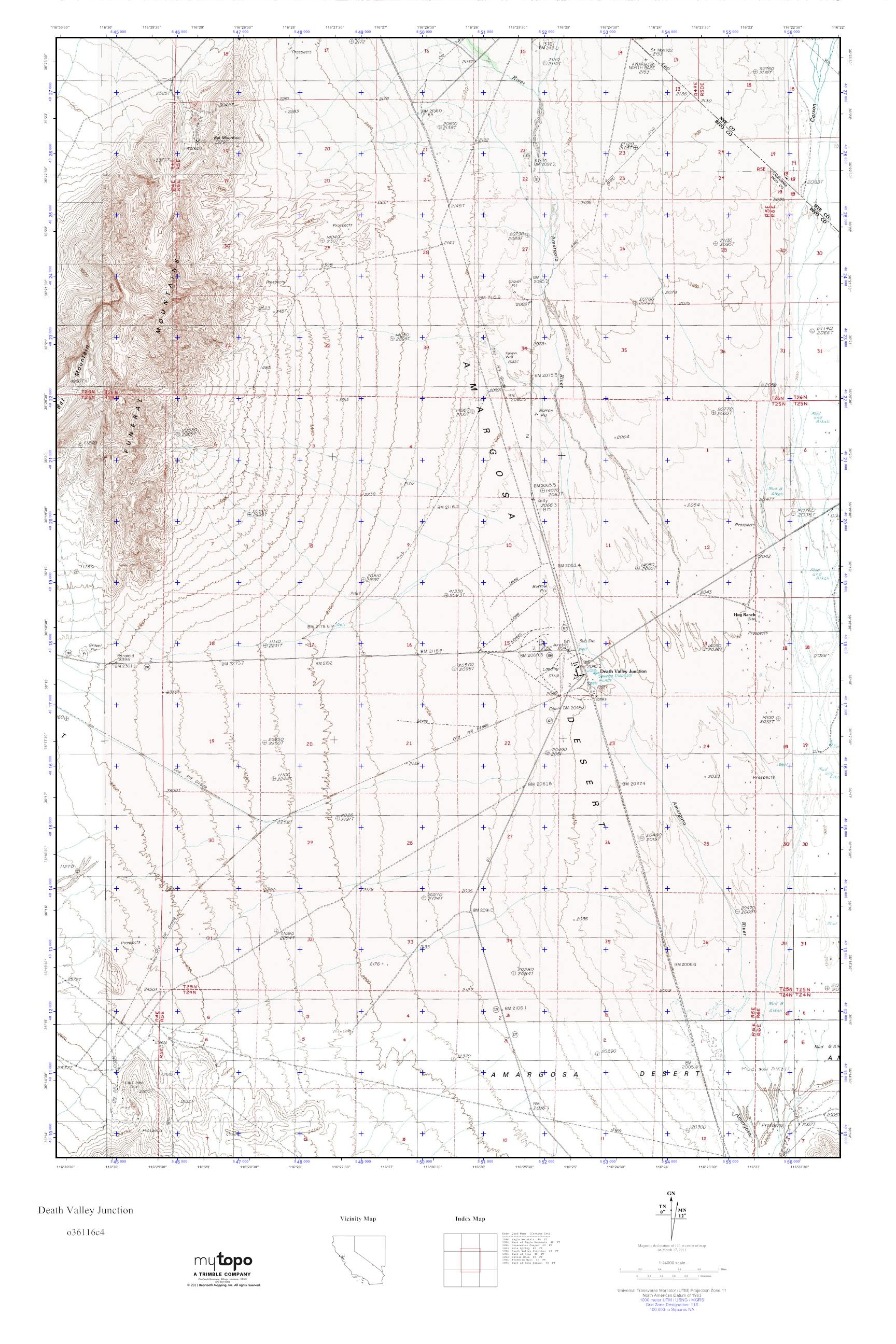 MyTopo Death Valley Junction Nevada USGS Quad Topo Map - Us map death valley