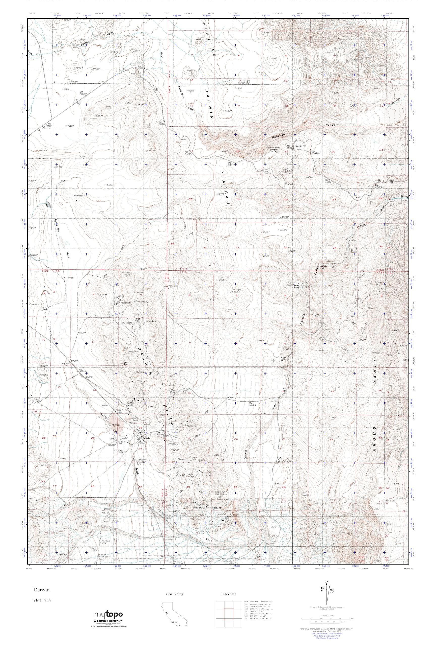 Darwin California Map.Mytopo Darwin California Usgs Quad Topo Map