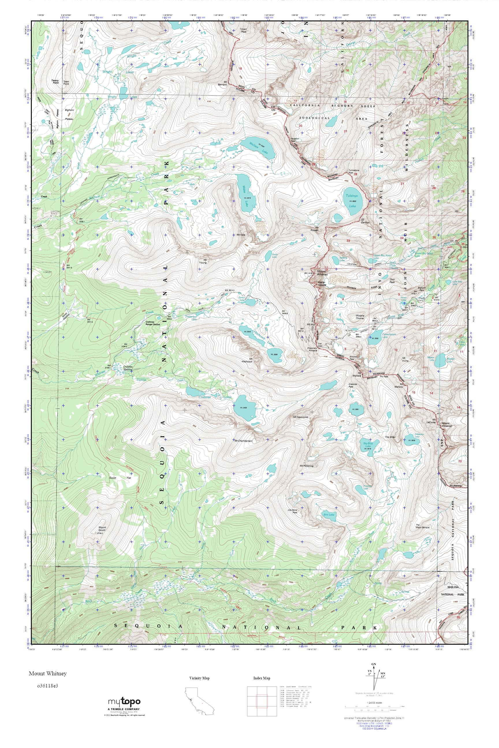 Where Is Mount Whitney On The California Map.Mytopo Mount Whitney California Usgs Quad Topo Map