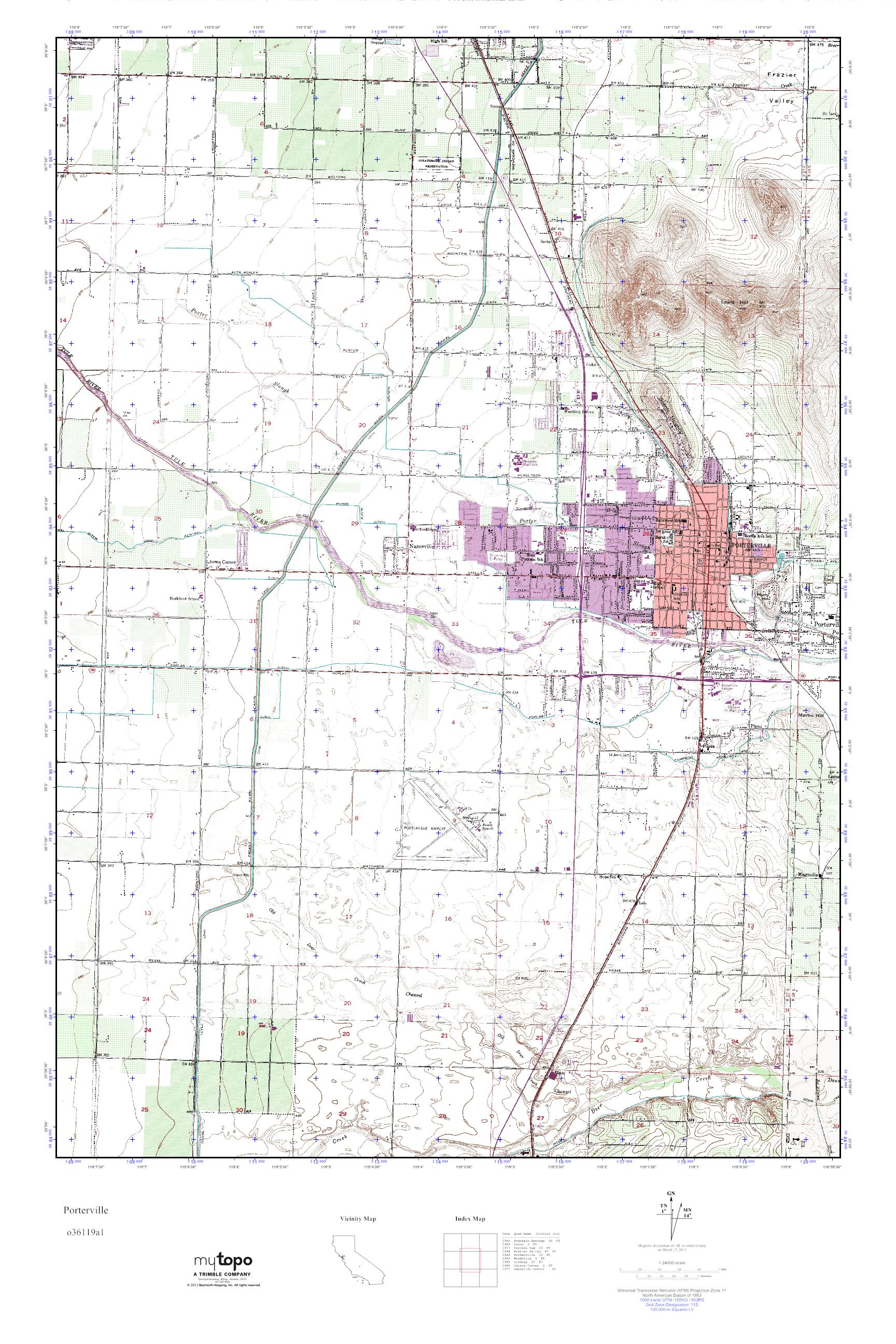 MyTopo Porterville, California USGS Quad Topo Map