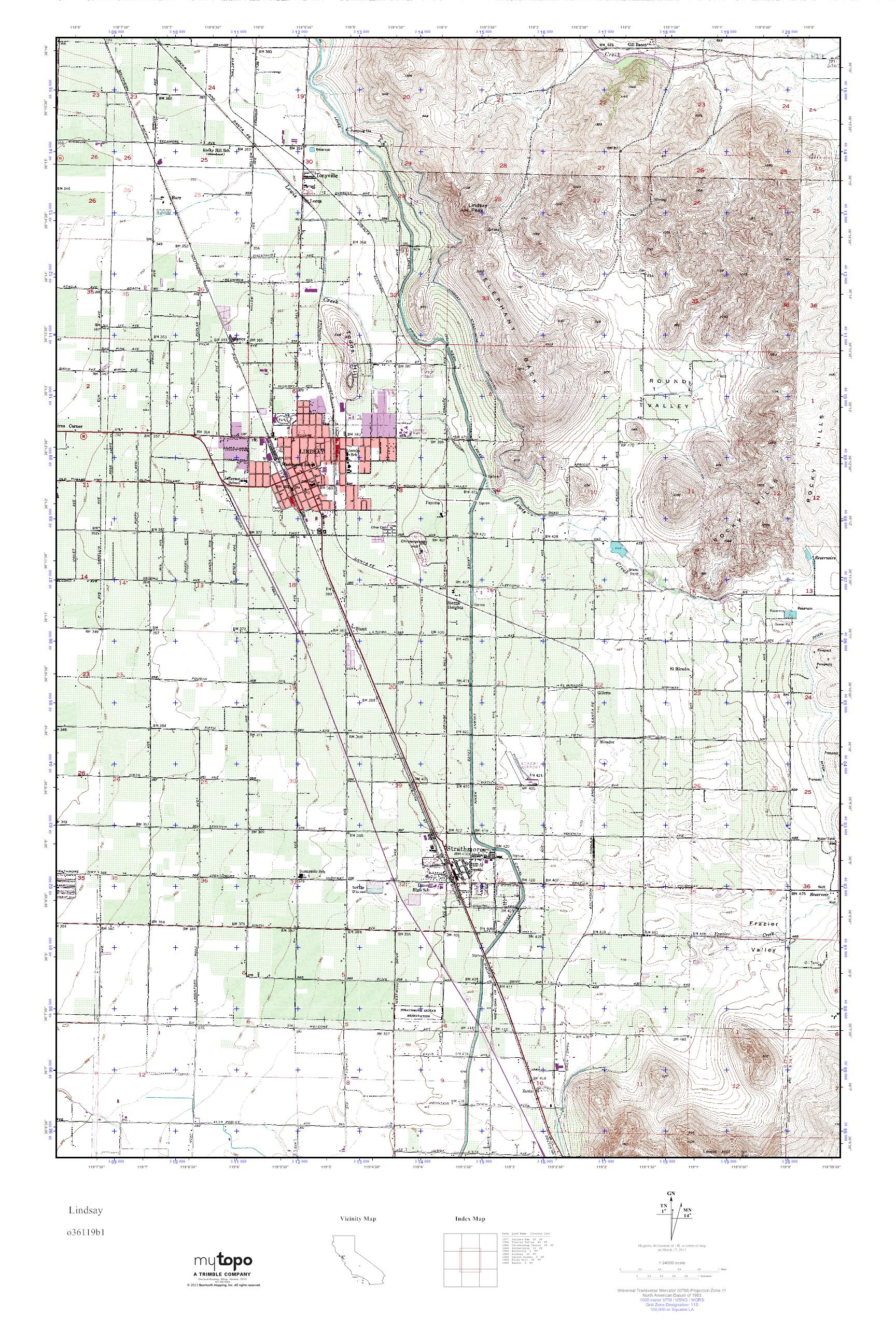 Lindsay California Map.Mytopo Lindsay California Usgs Quad Topo Map