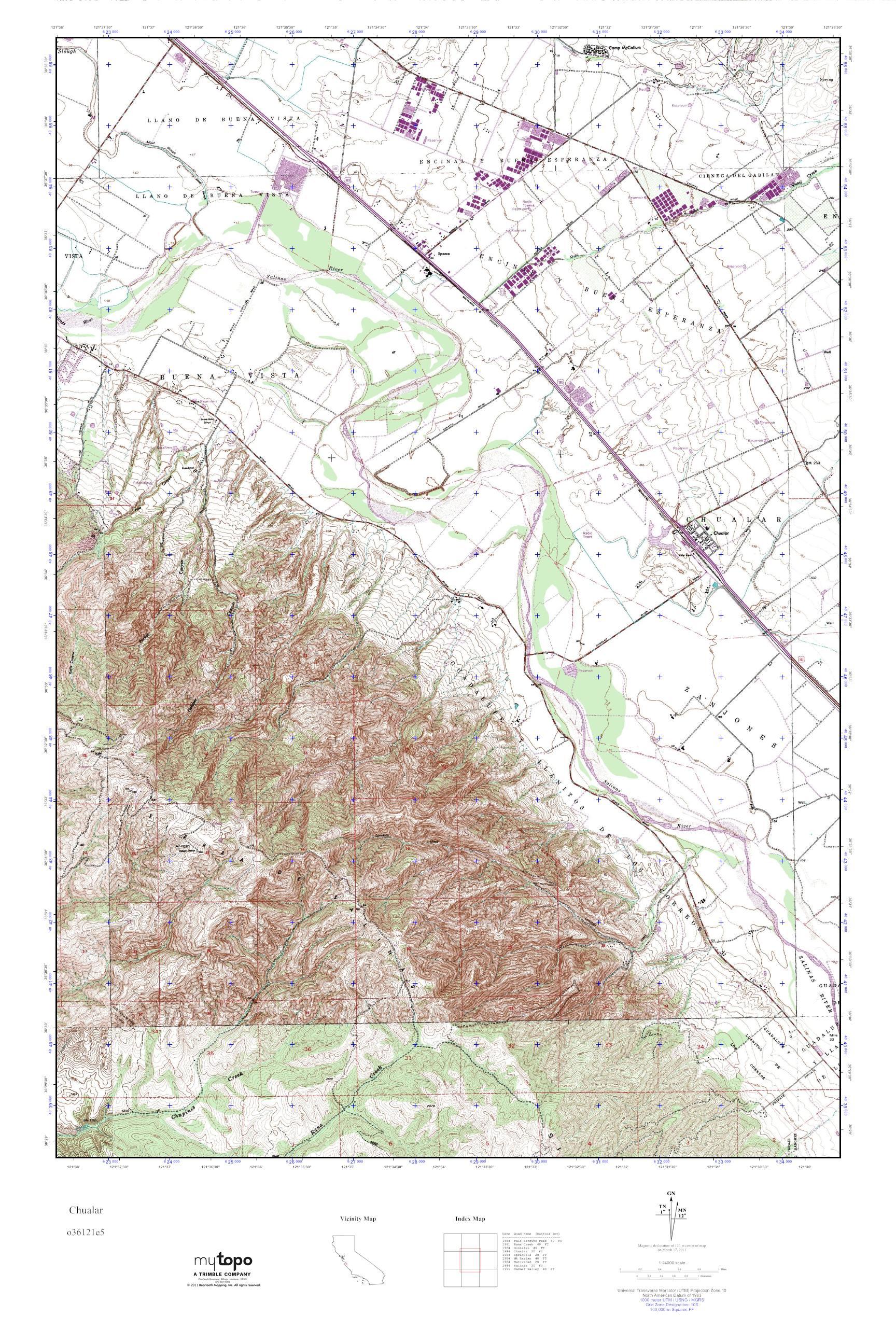 MyTopo Chualar California USGS Quad Topo Map
