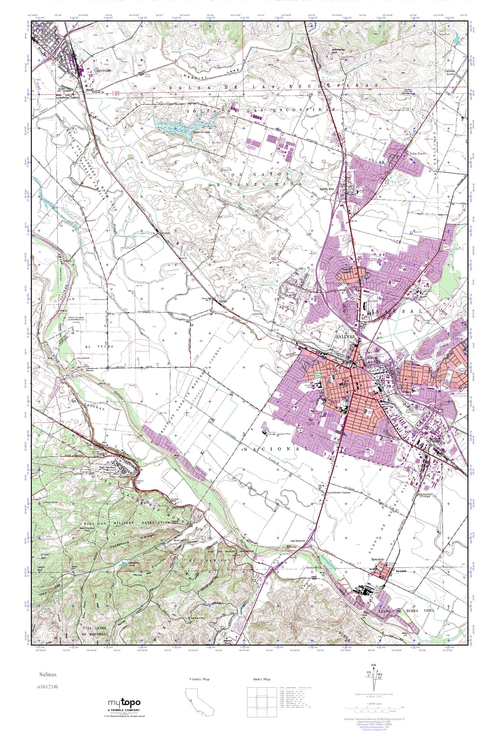 Mytopo Salinas California Usgs Quad Topo Map