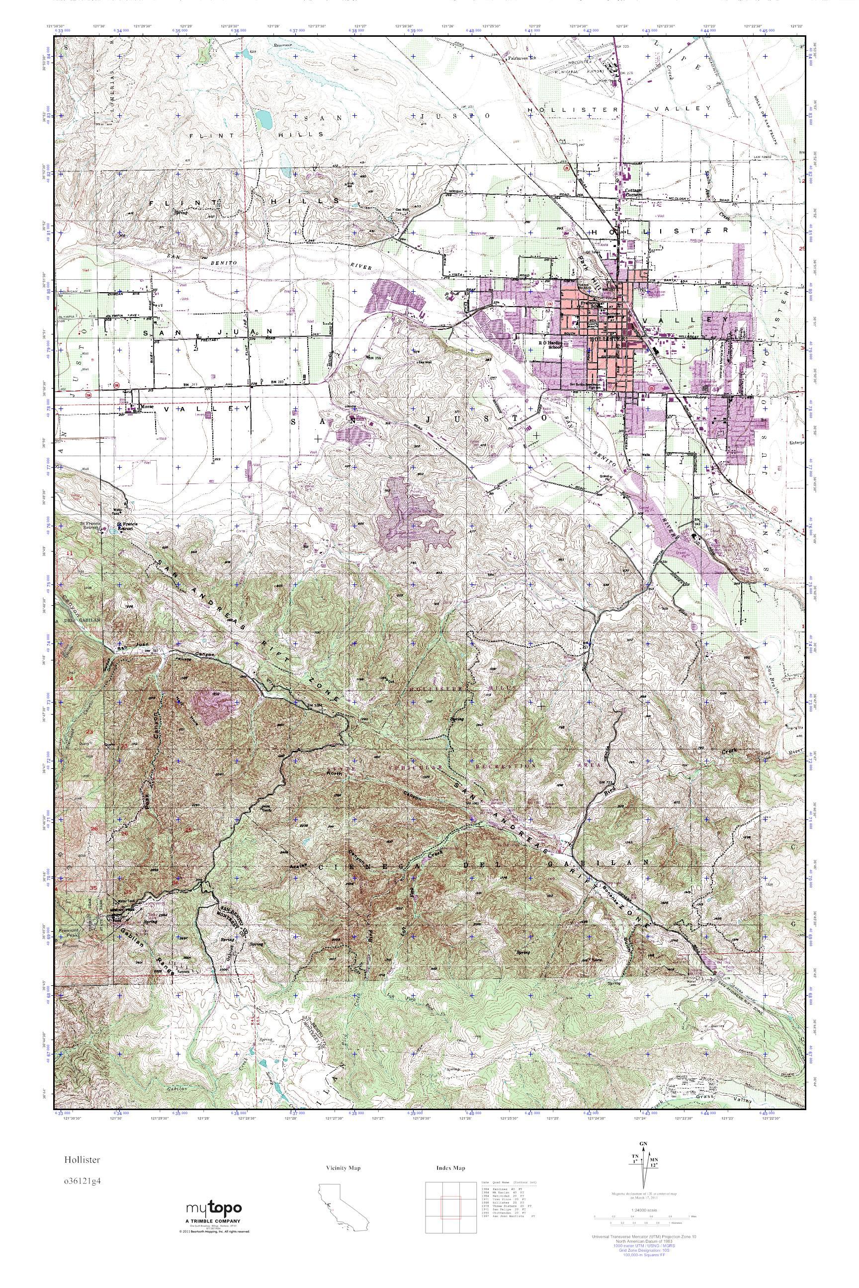 Mytopo Hollister California Usgs Quad Topo Map