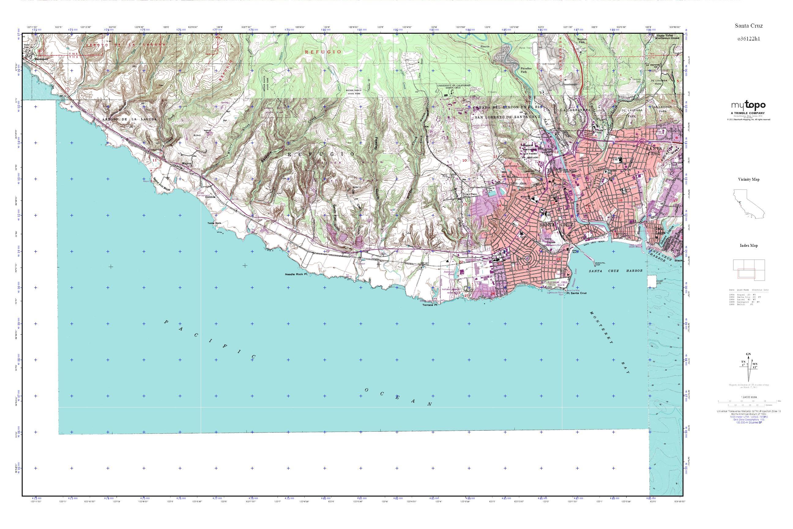 Mytopo Santa Cruz California Usgs Quad Topo Map