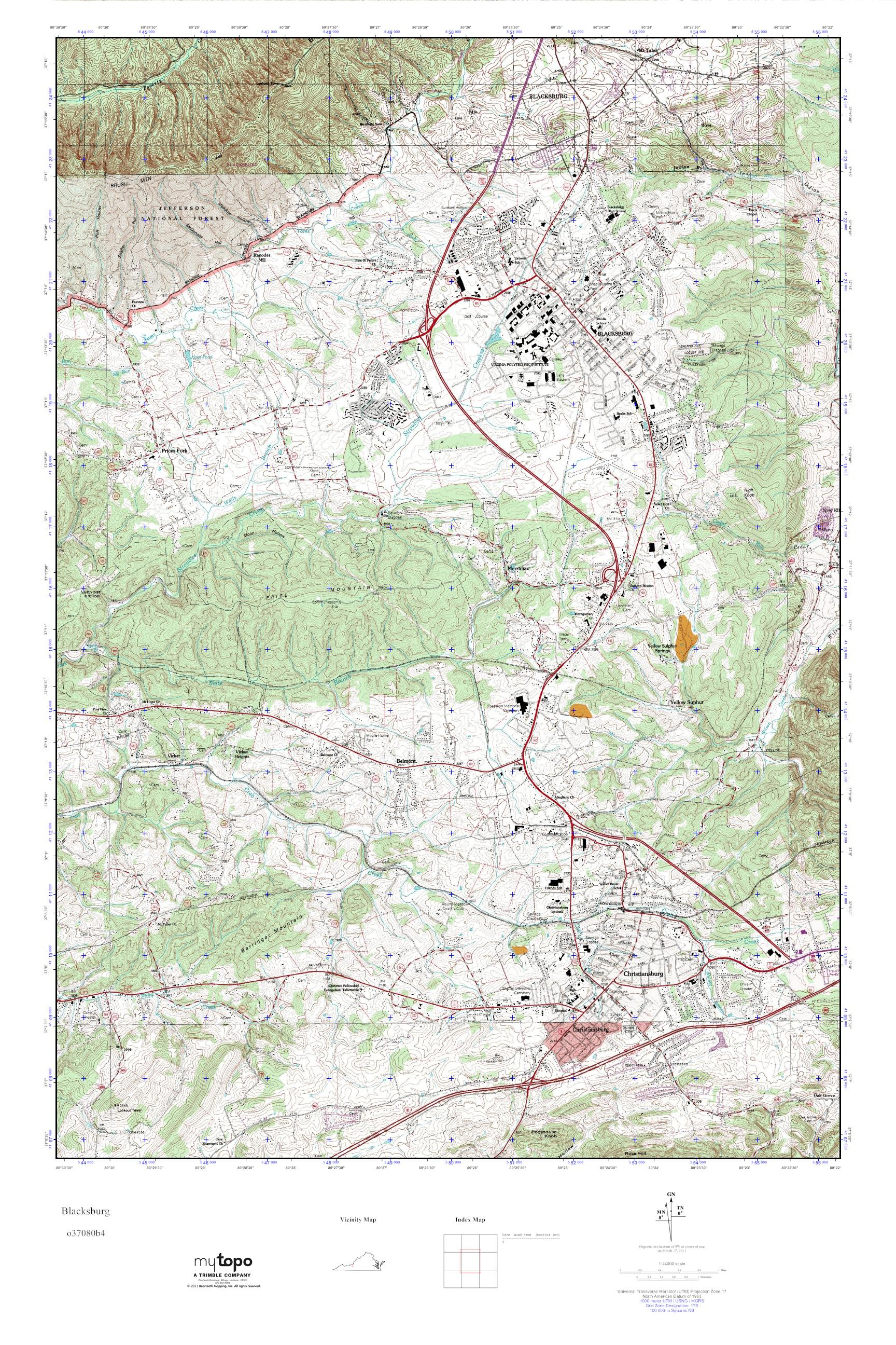MyTopo Blacksburg, Virginia USGS Quad Topo Map