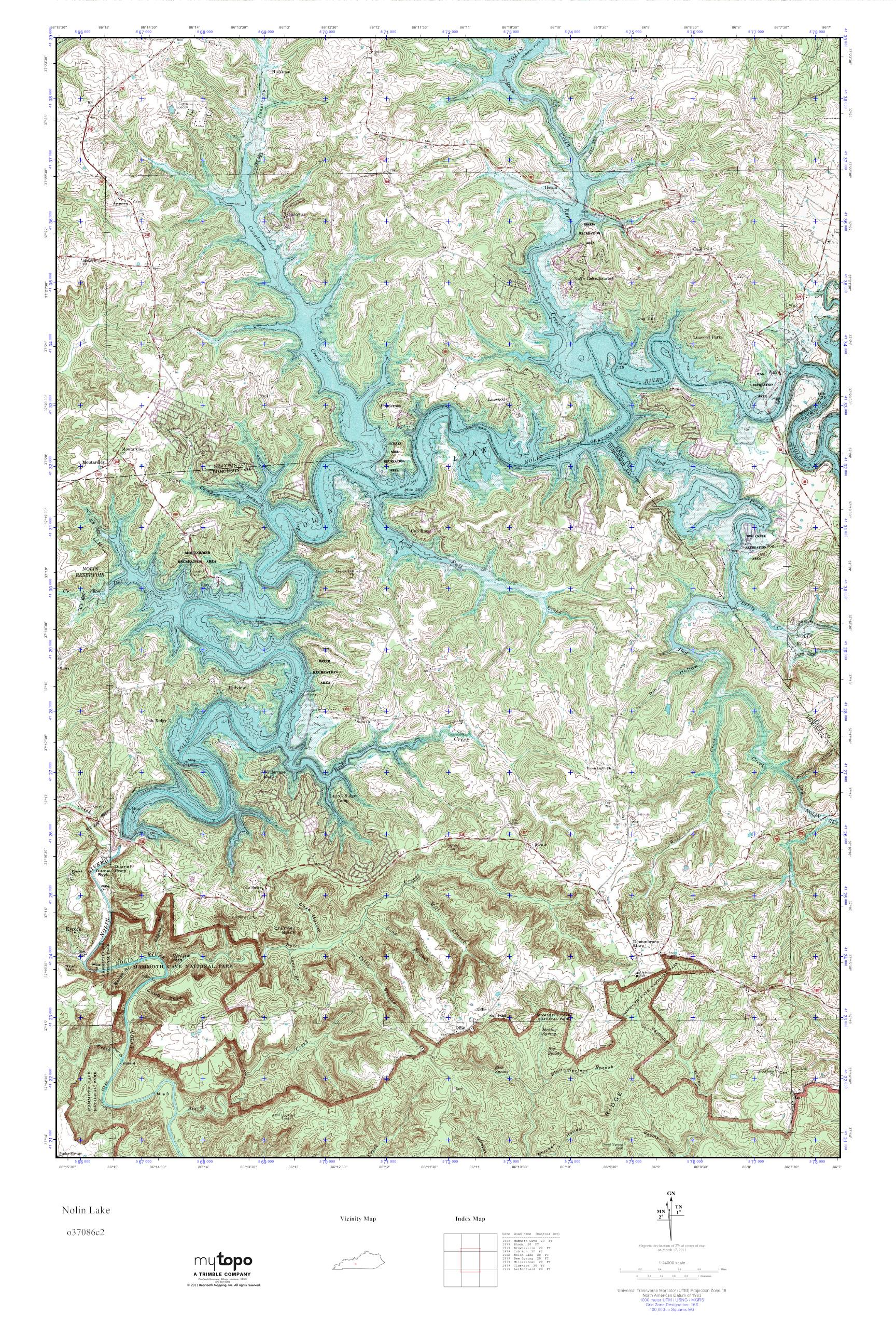 . mytopo nolin lake kentucky usgs quad topo map