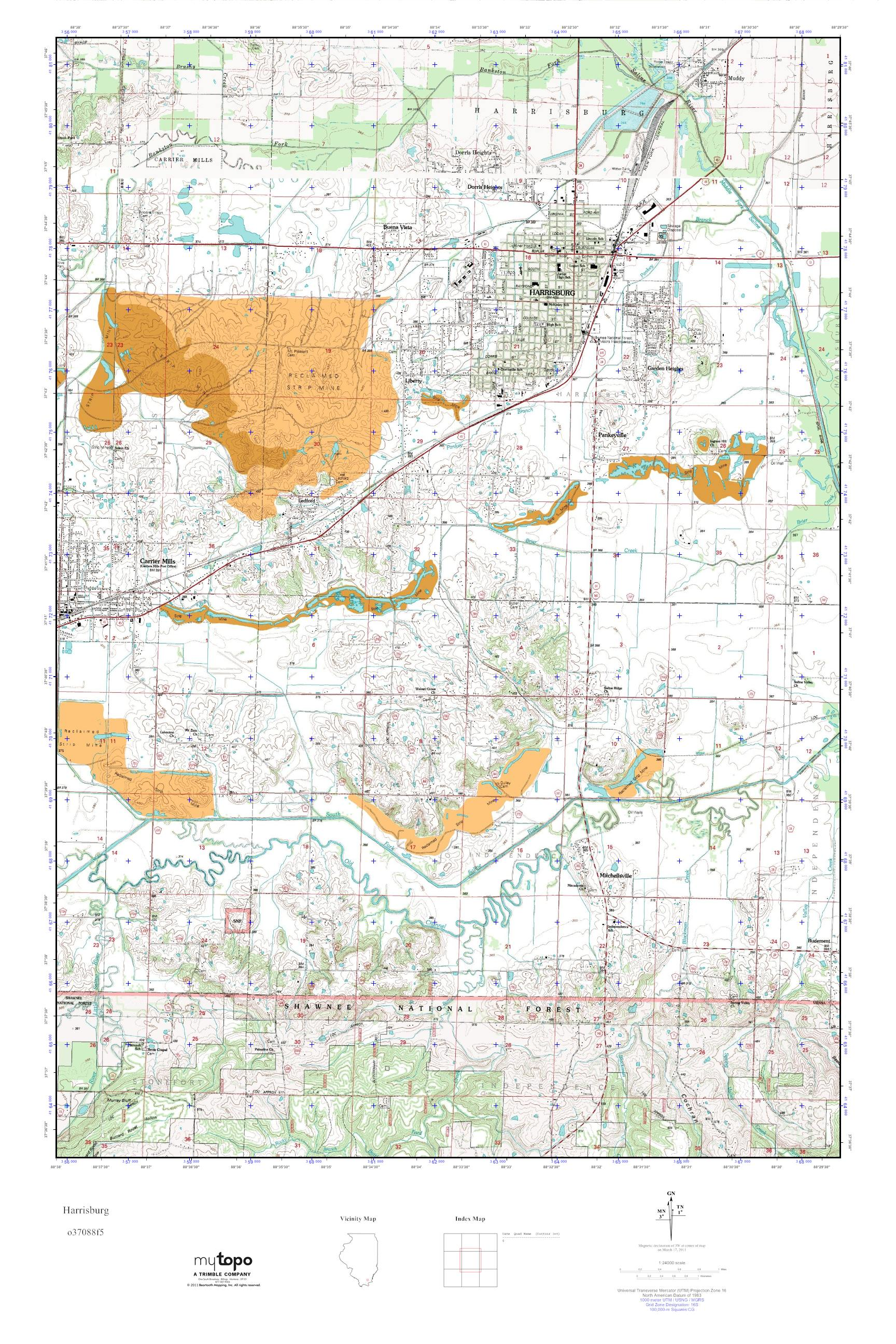 Harrisburg Illinois Map.Mytopo Harrisburg Illinois Usgs Quad Topo Map