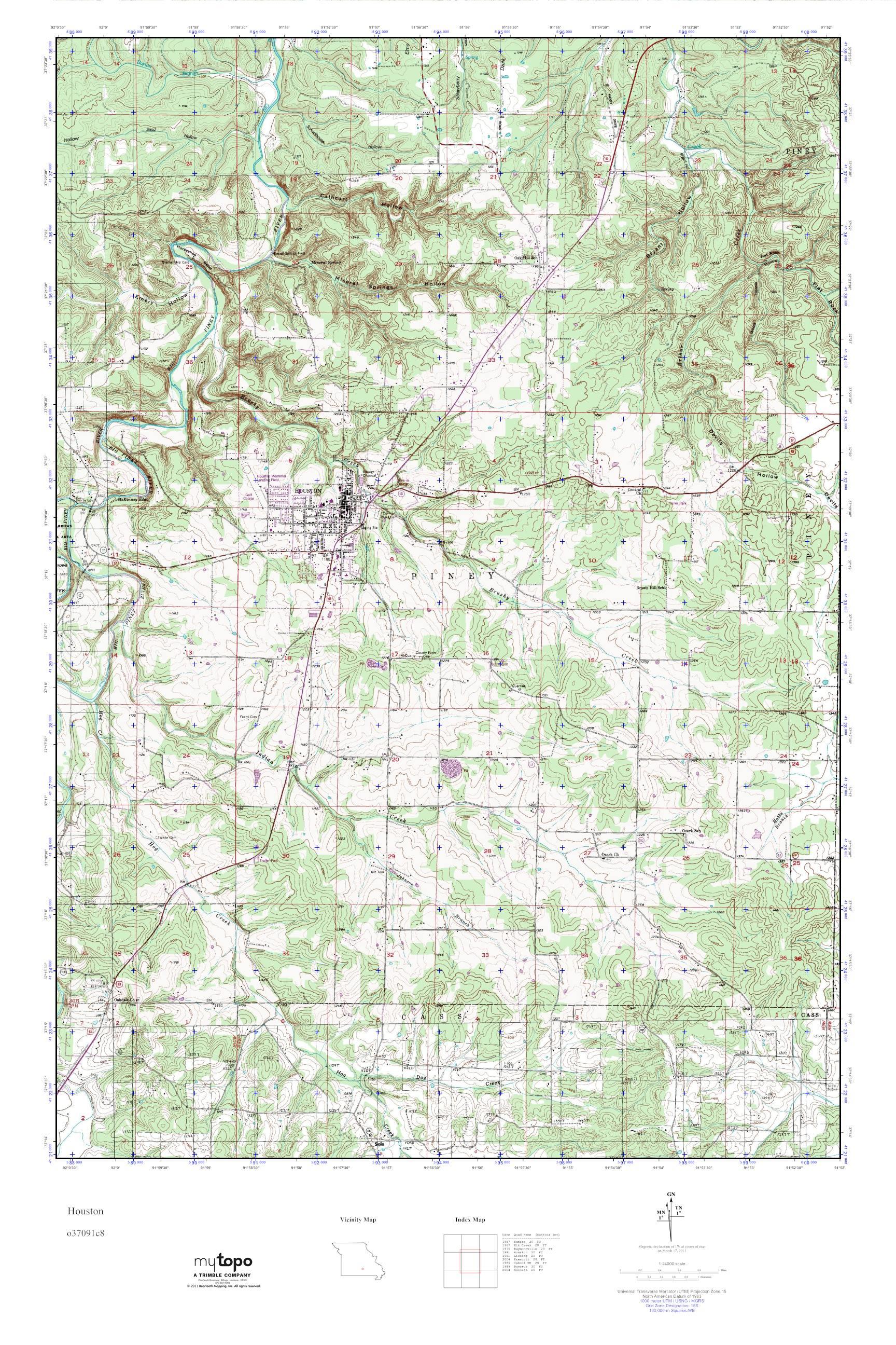Mytopo Houston Missouri Usgs Quad Topo Map