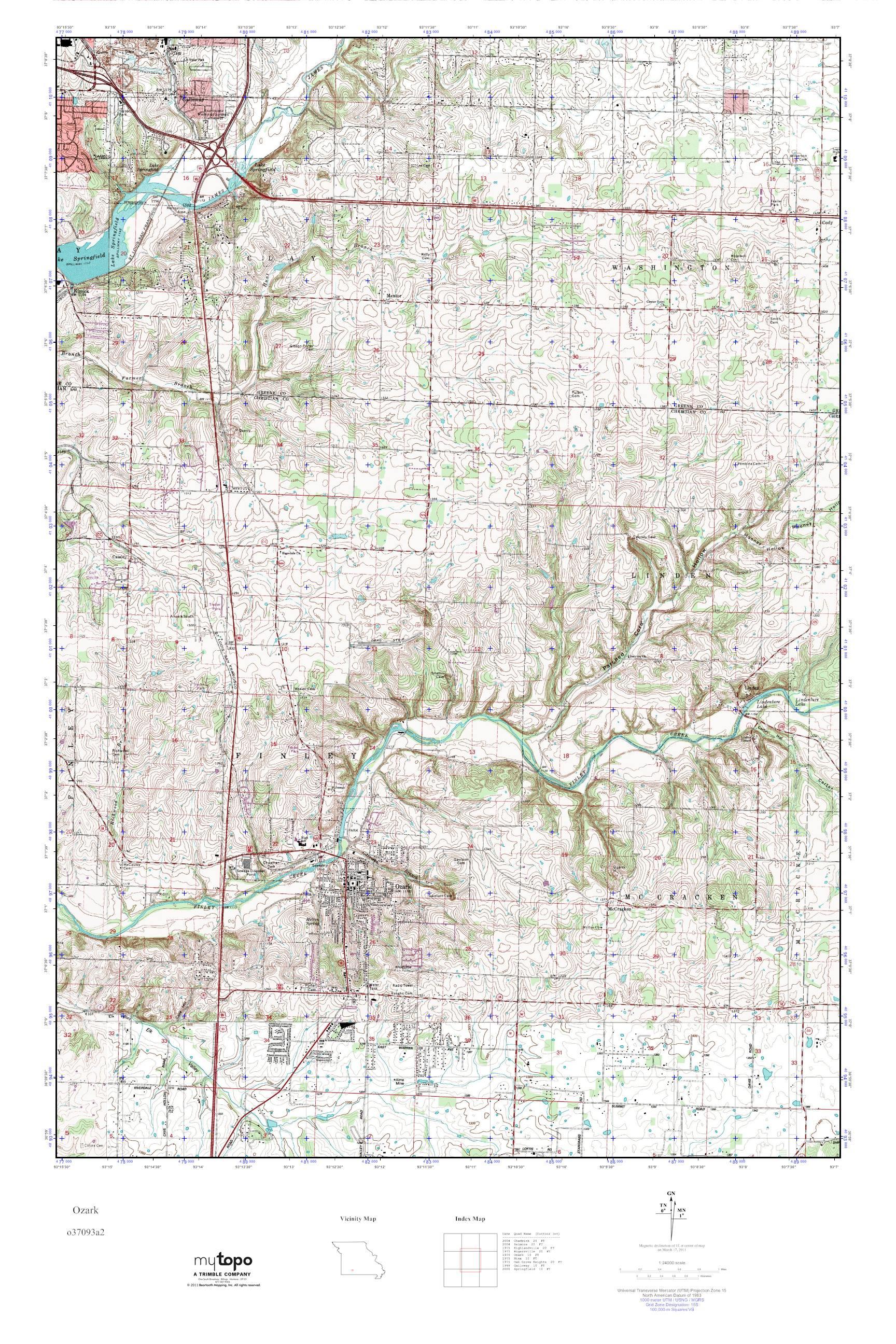 Mytopo Ozark Missouri Usgs Quad Topo Map
