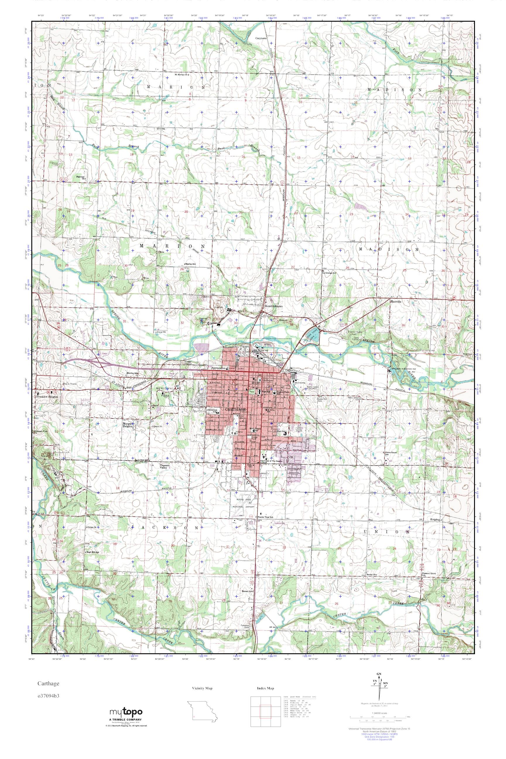Mytopo Carthage Missouri Usgs Quad Topo Map