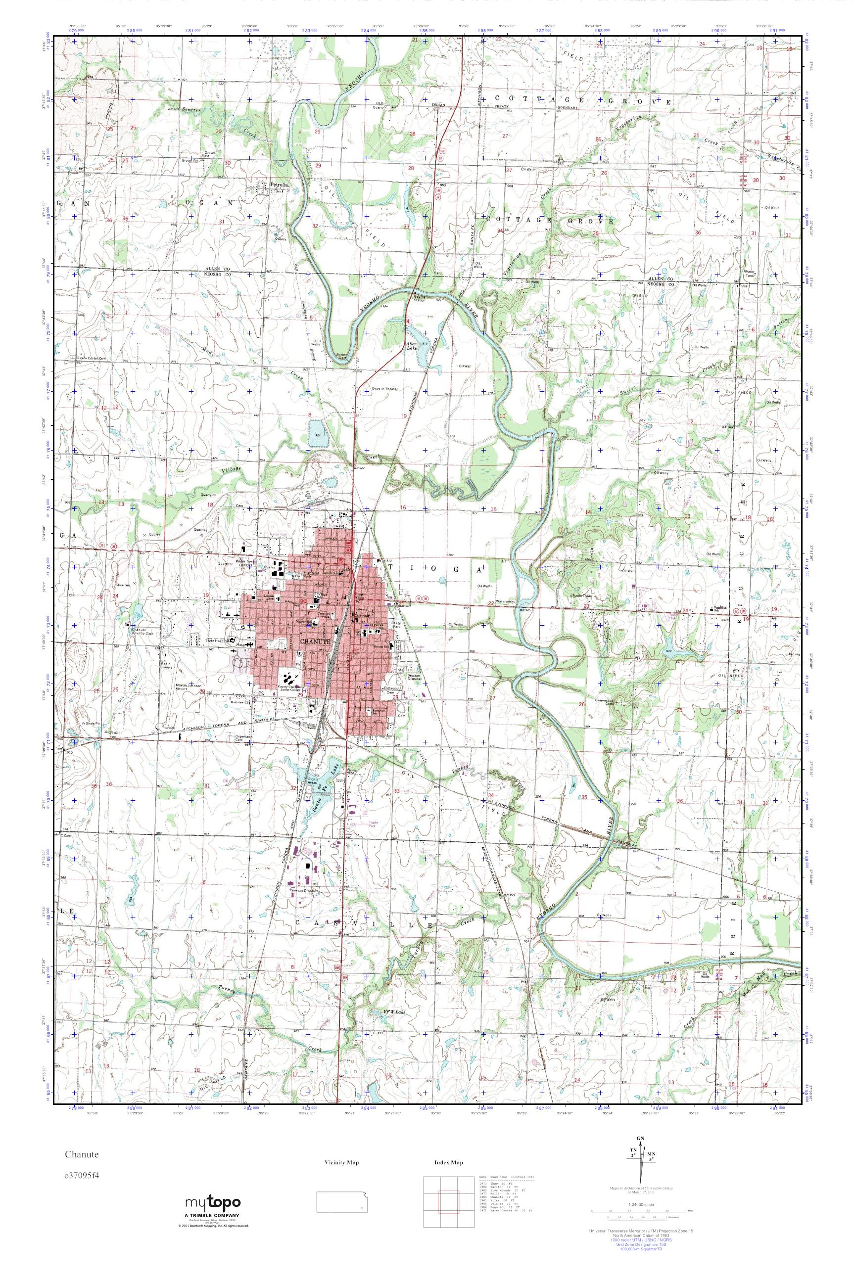 Chanute Kansas Map.Mytopo Chanute Kansas Usgs Quad Topo Map