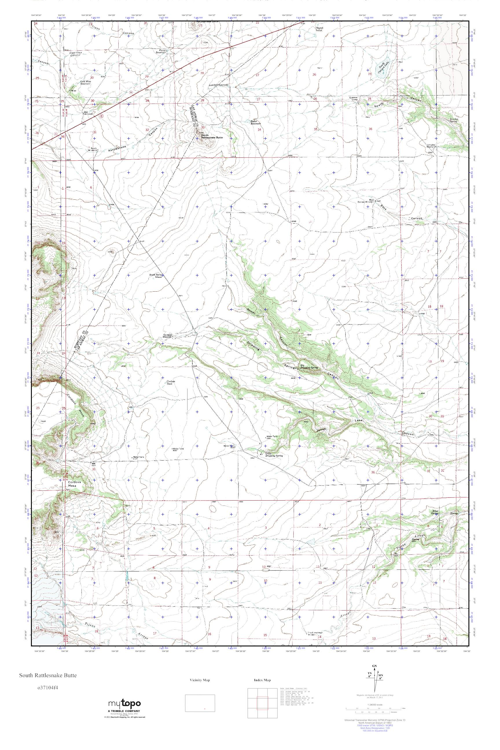 Rattlesnakes In Colorado Map.Mytopo South Rattlesnake Butte Colorado Usgs Quad Topo Map