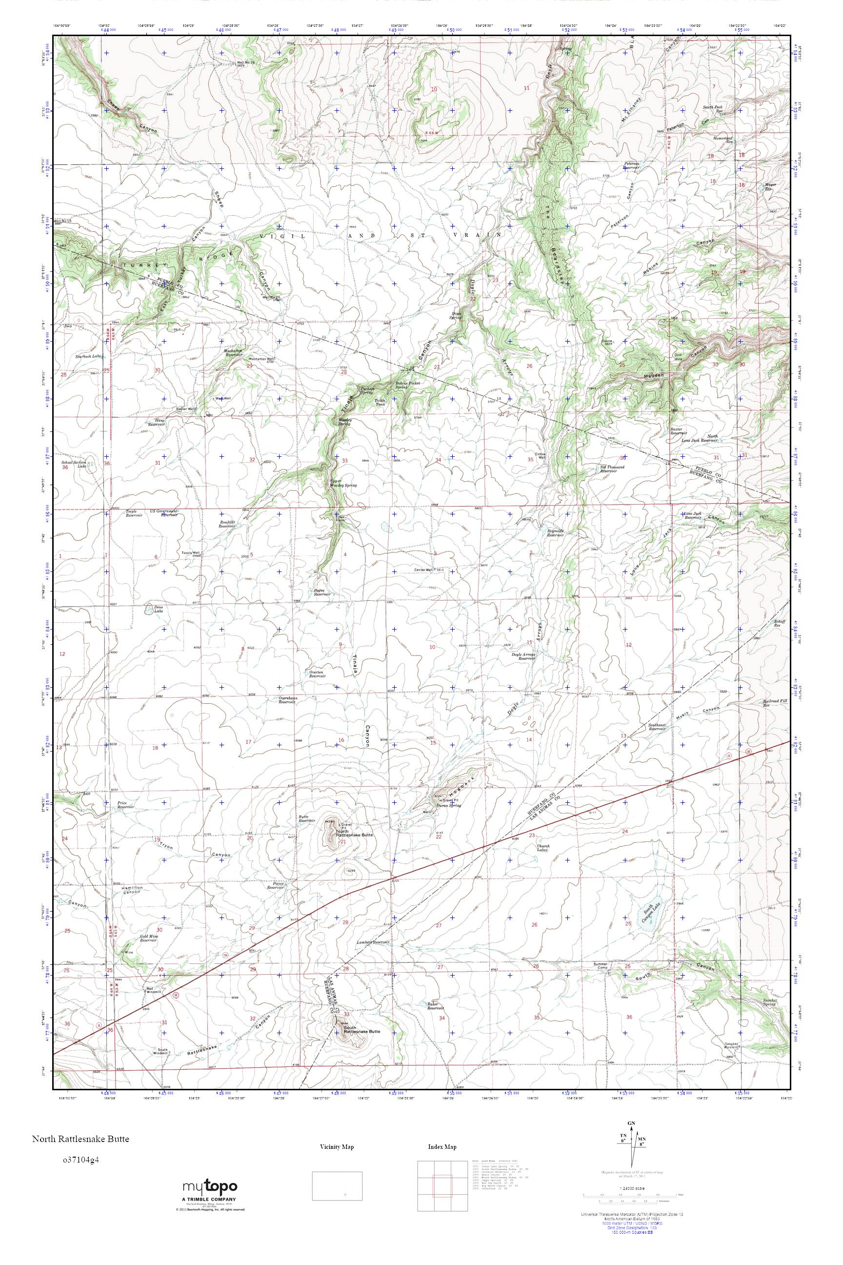 Rattlesnakes In Colorado Map.Mytopo North Rattlesnake Butte Colorado Usgs Quad Topo Map
